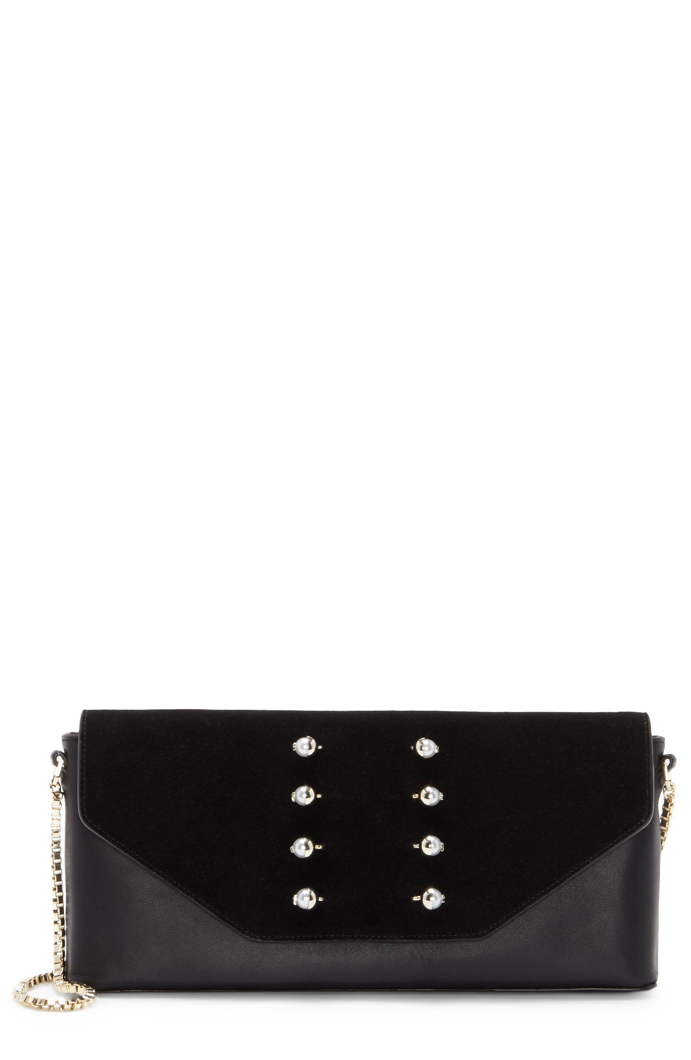 Gya Imitation Pearl Embellished Suede & Leather Clutch,                             Main thumbnail 1, color,                             Black