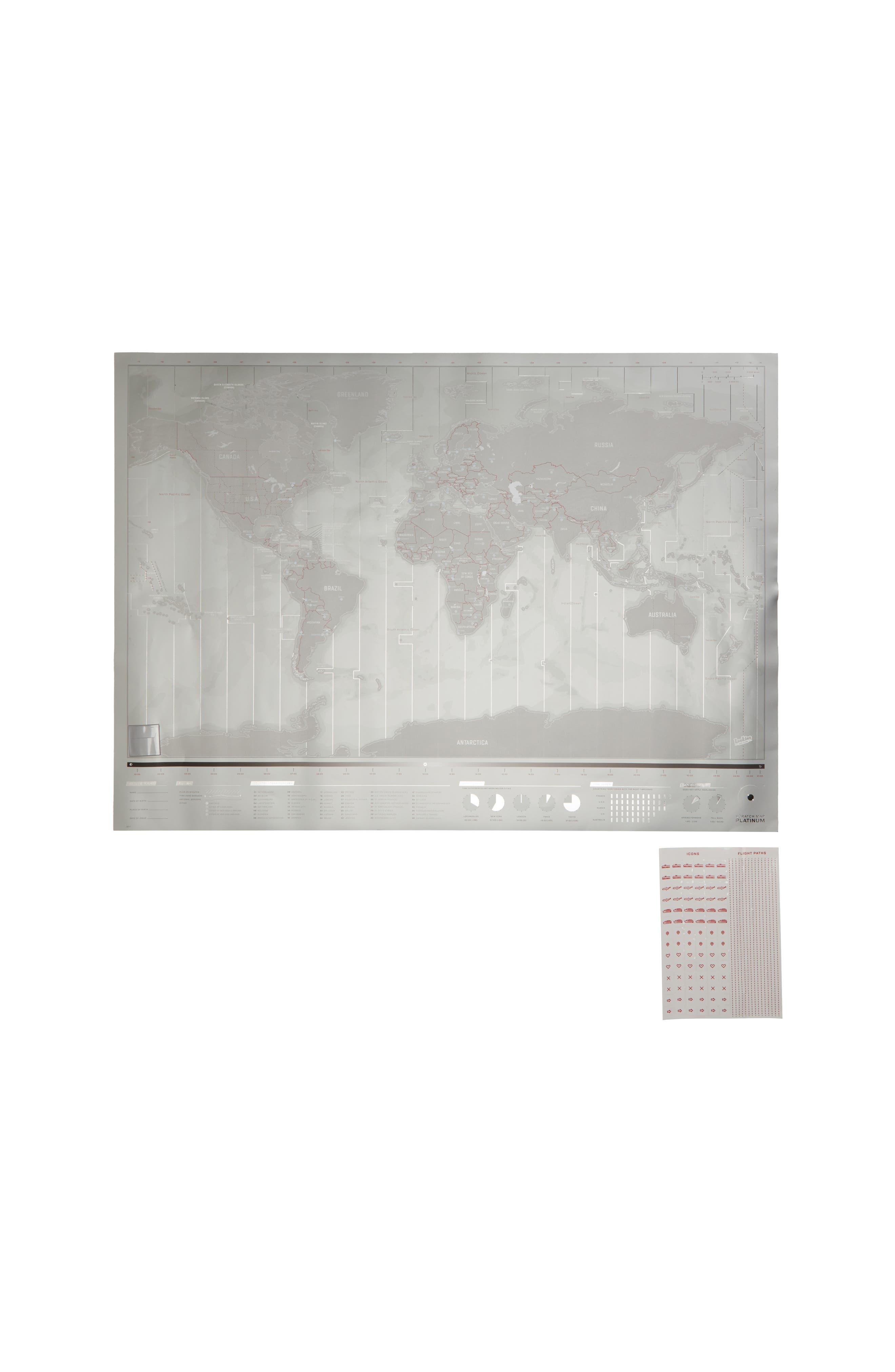 MoMA Design Store Large Platinum Scratch World Map