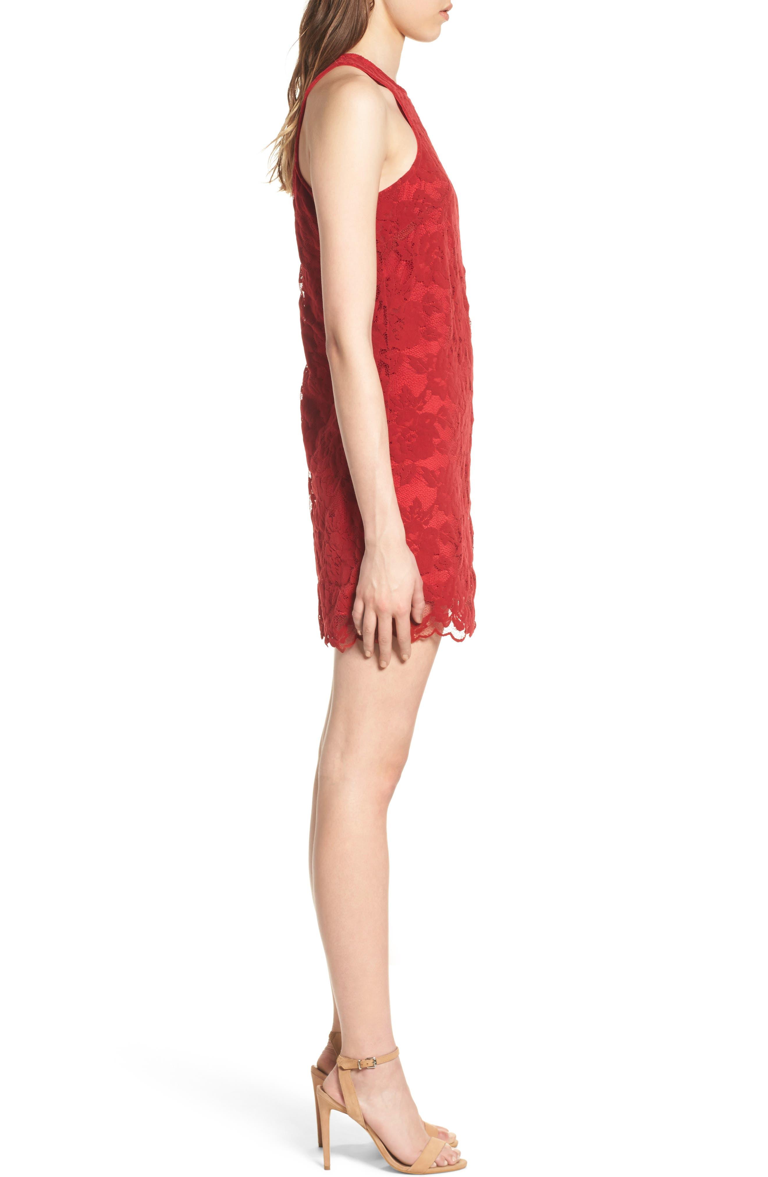 Caspian Lace Sheath Dress,                             Alternate thumbnail 3, color,                             Bordeaux