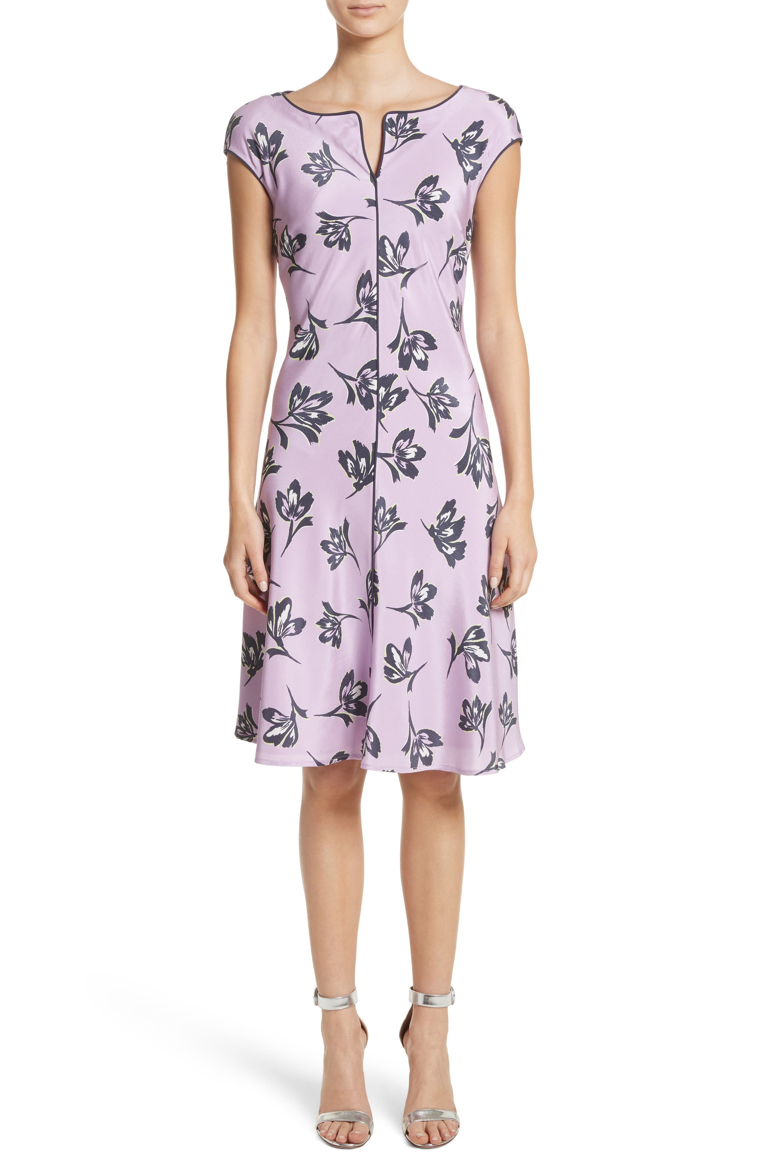 Floral Print Stretch Silk Dress,                         Main,                         color, Orchid Multi