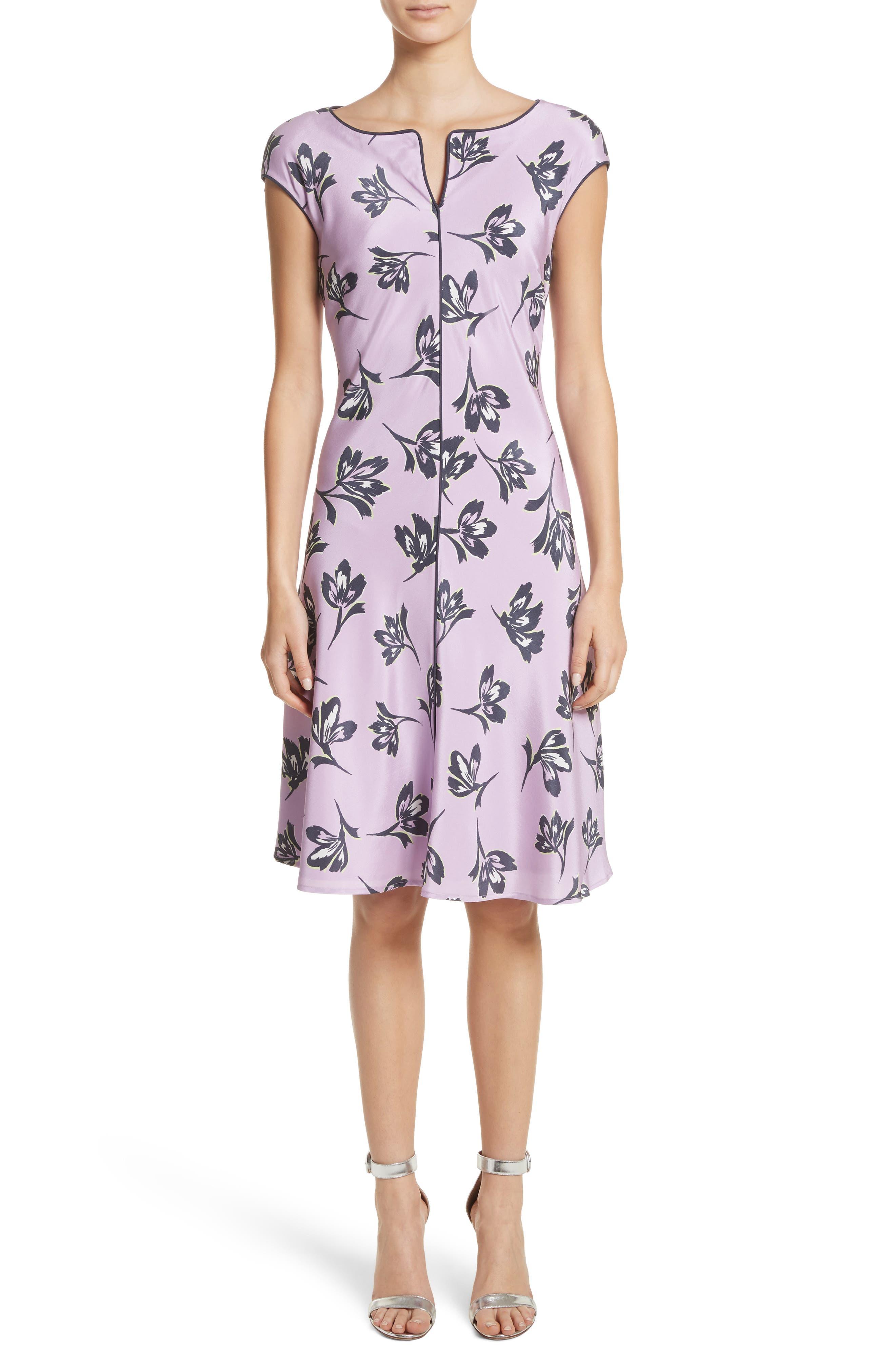 St. John Collection Floral Print Stretch Silk Dress