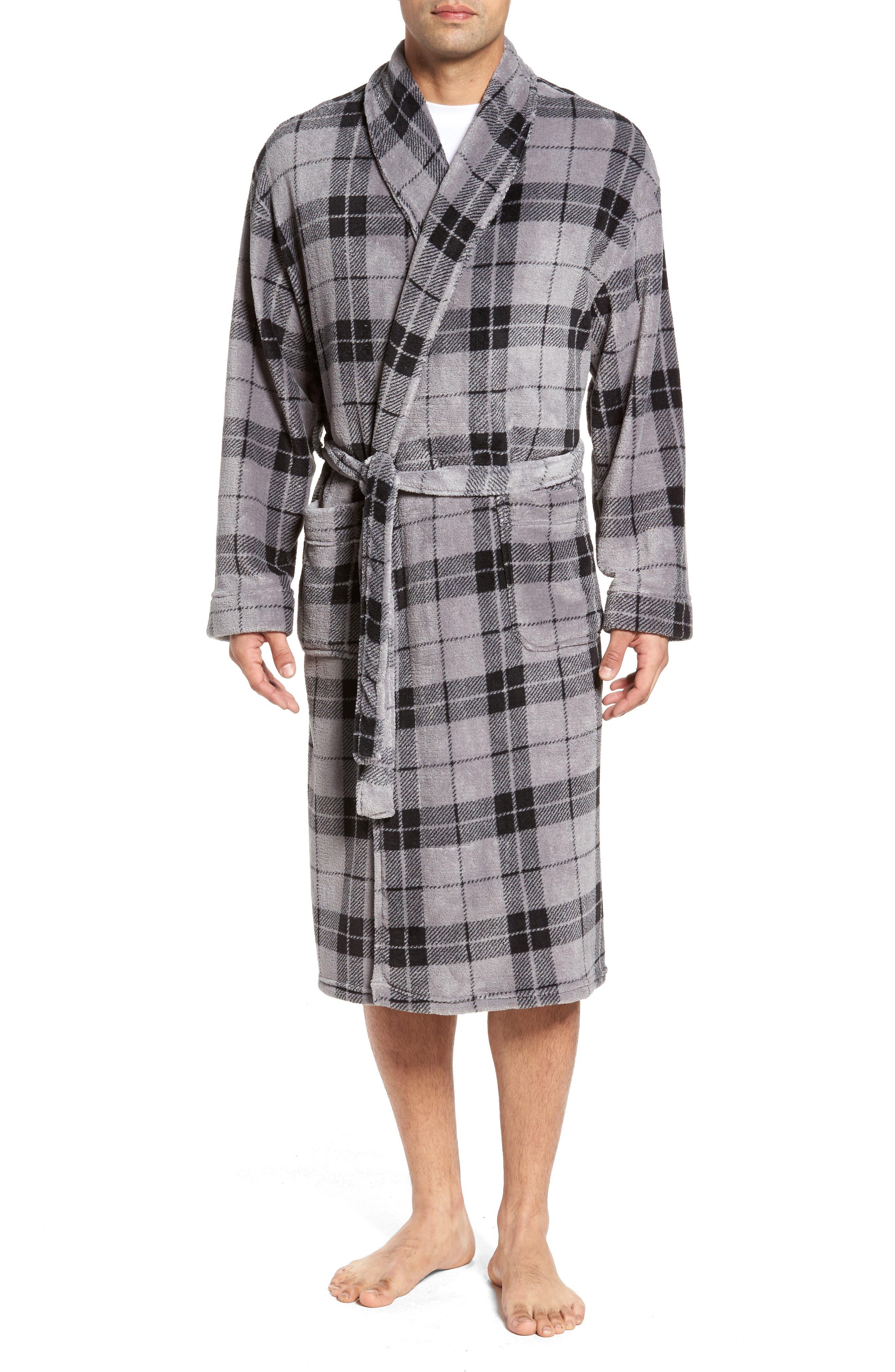 Fleece Robe,                         Main,                         color, Grey Plaid