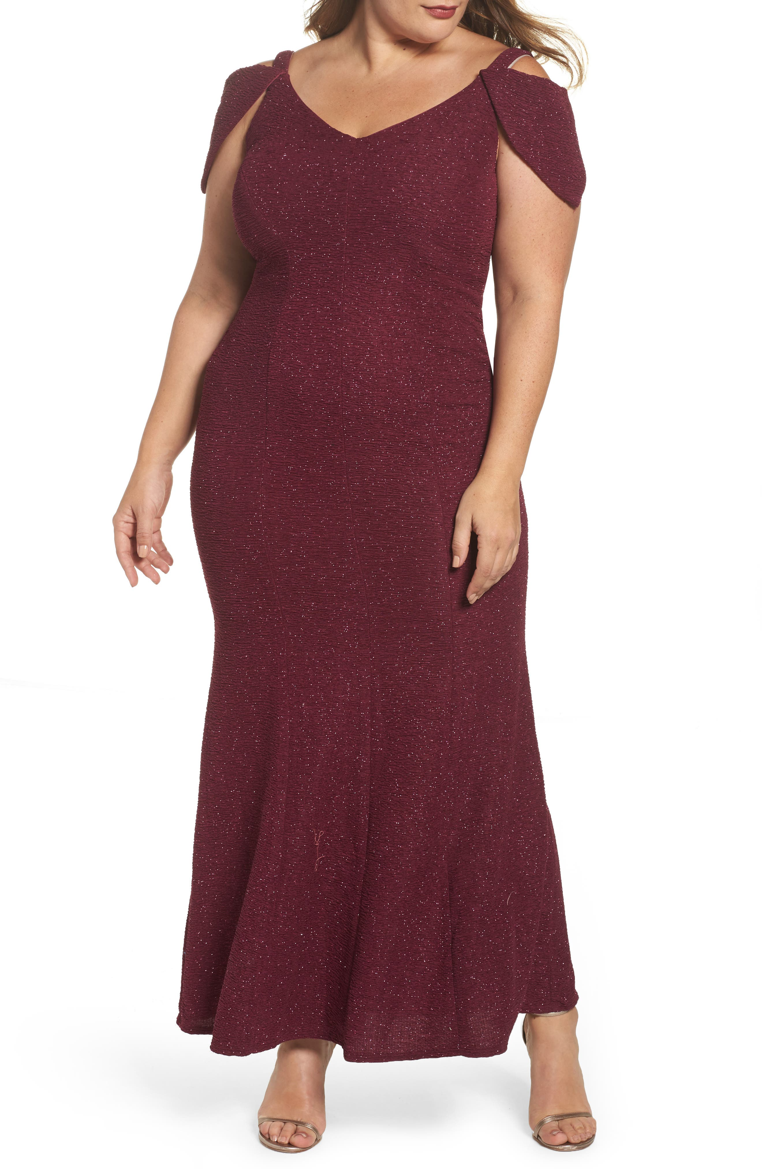 Morgan & Co. Cold Shoulder Glitter Knit Gown (Plus Size)