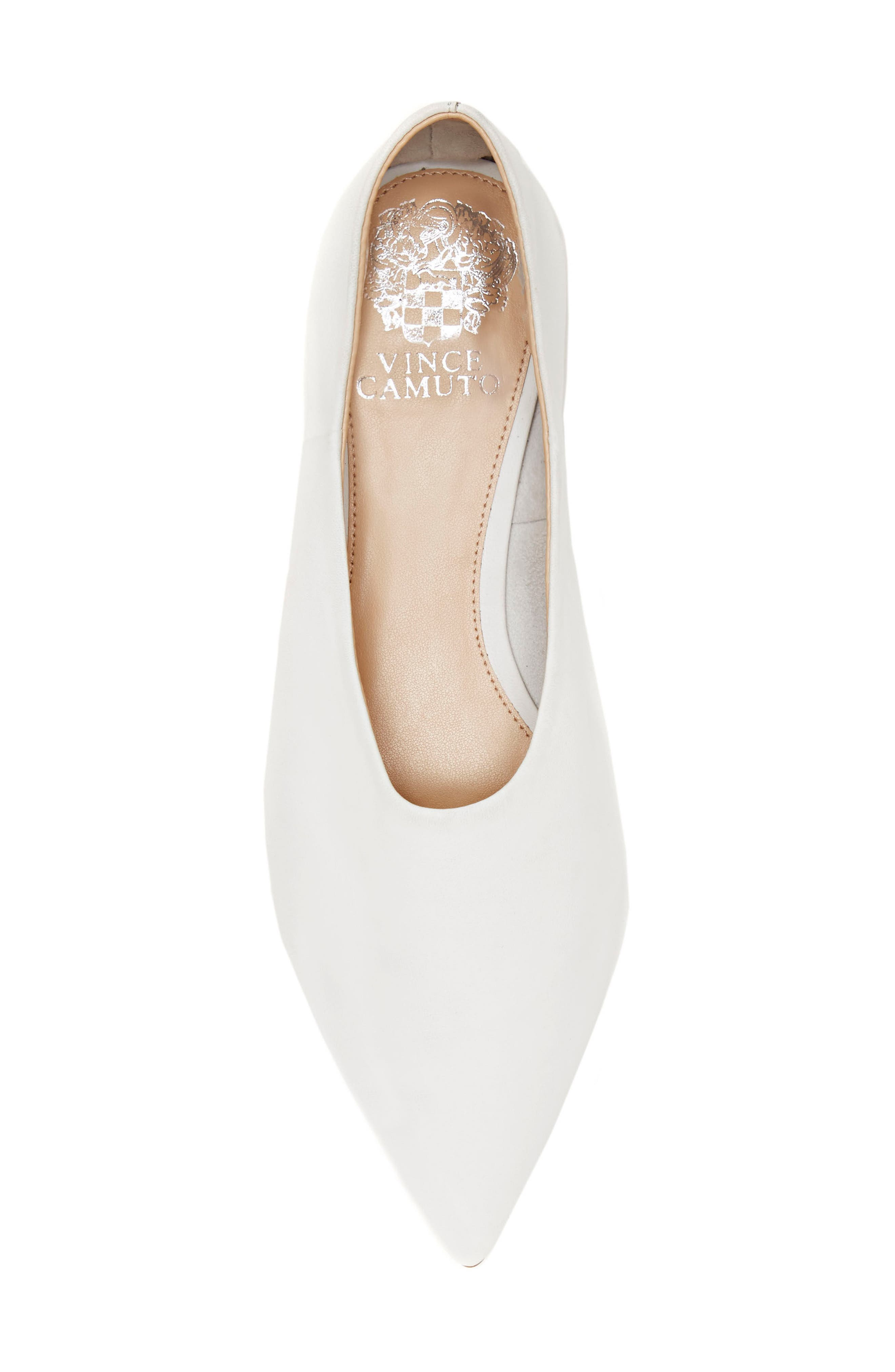 Stanta Pointy Toe Flat,                             Alternate thumbnail 5, color,                             Pure White Leather