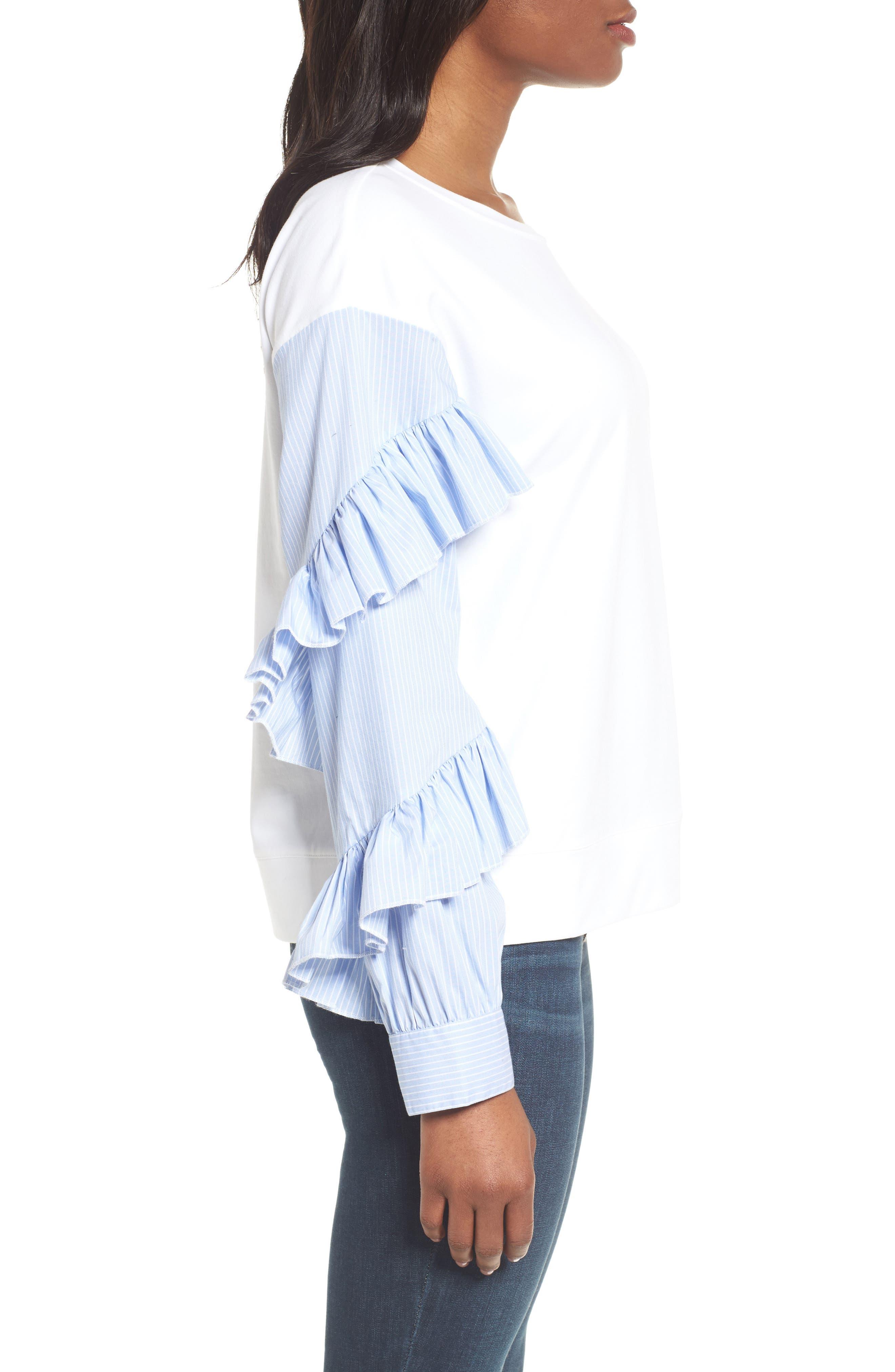 Alternate Image 3  - Halogen® Poplin Ruffle Sleeve Sweatshirt (Regular & Petite)