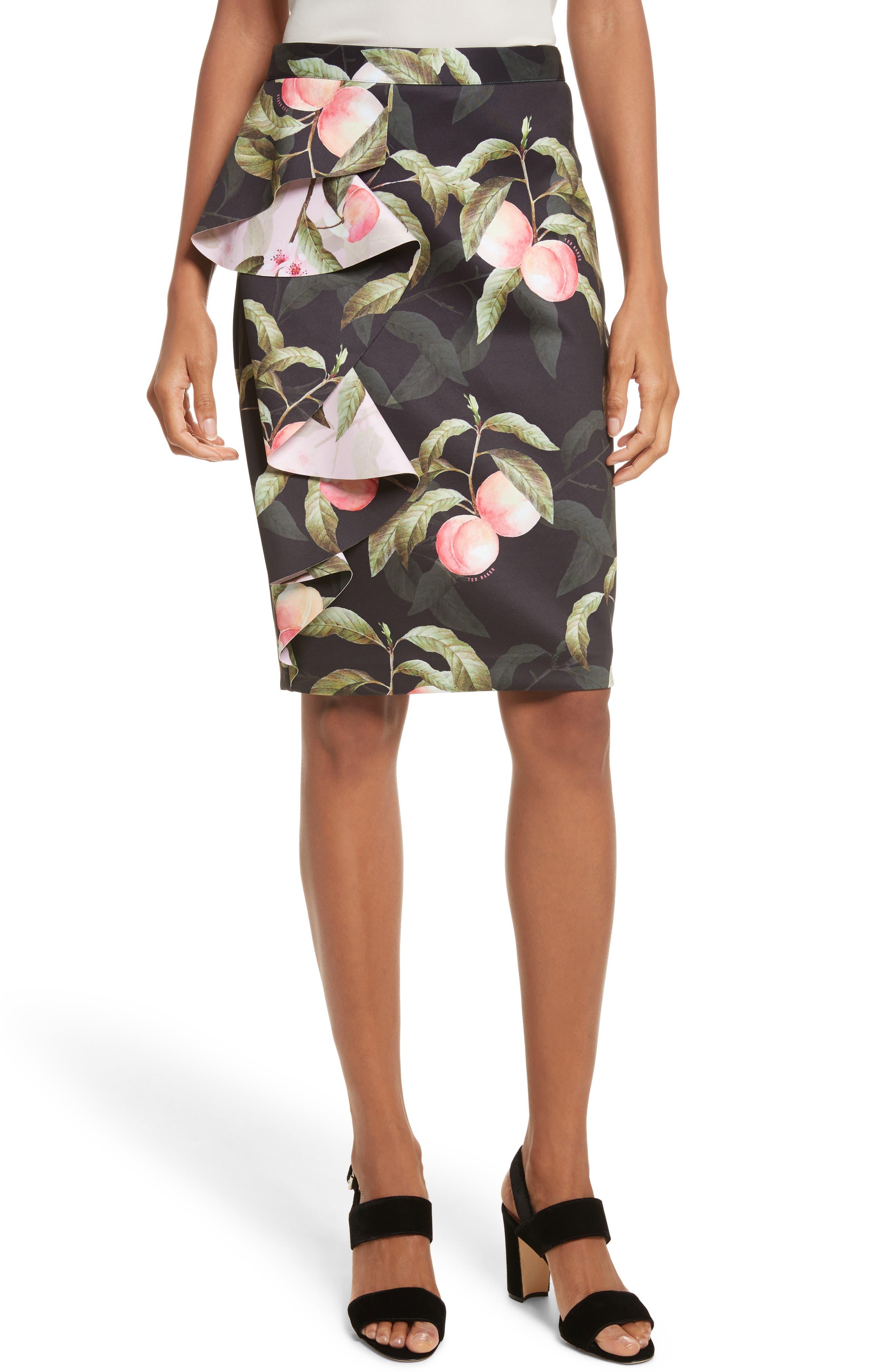 Main Image - Ted Baker London Peaches Ruffle Pencil Skirt
