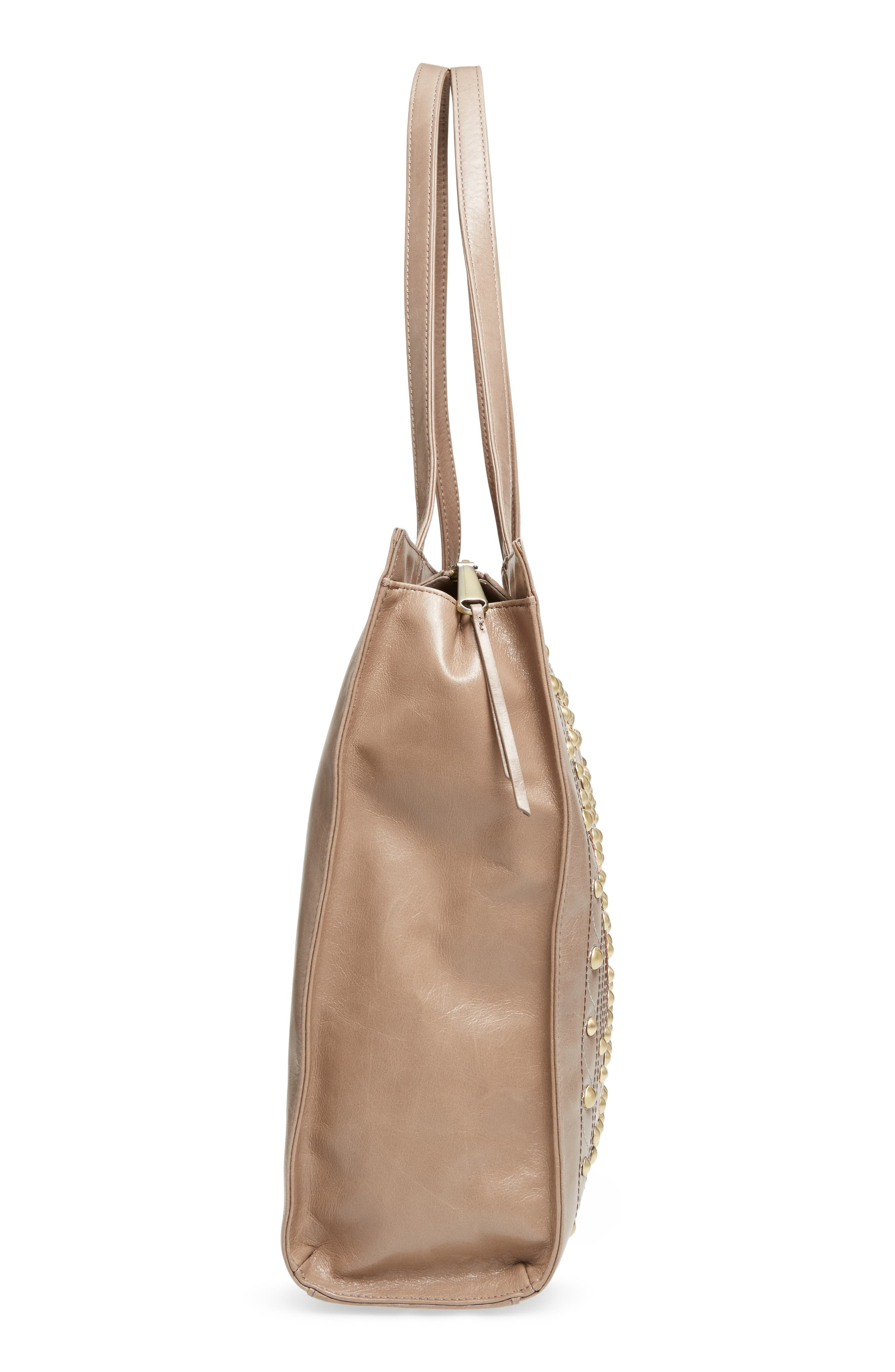 Avalon Studded Calfskin Leather Tote,                             Alternate thumbnail 4, color,                             Ash