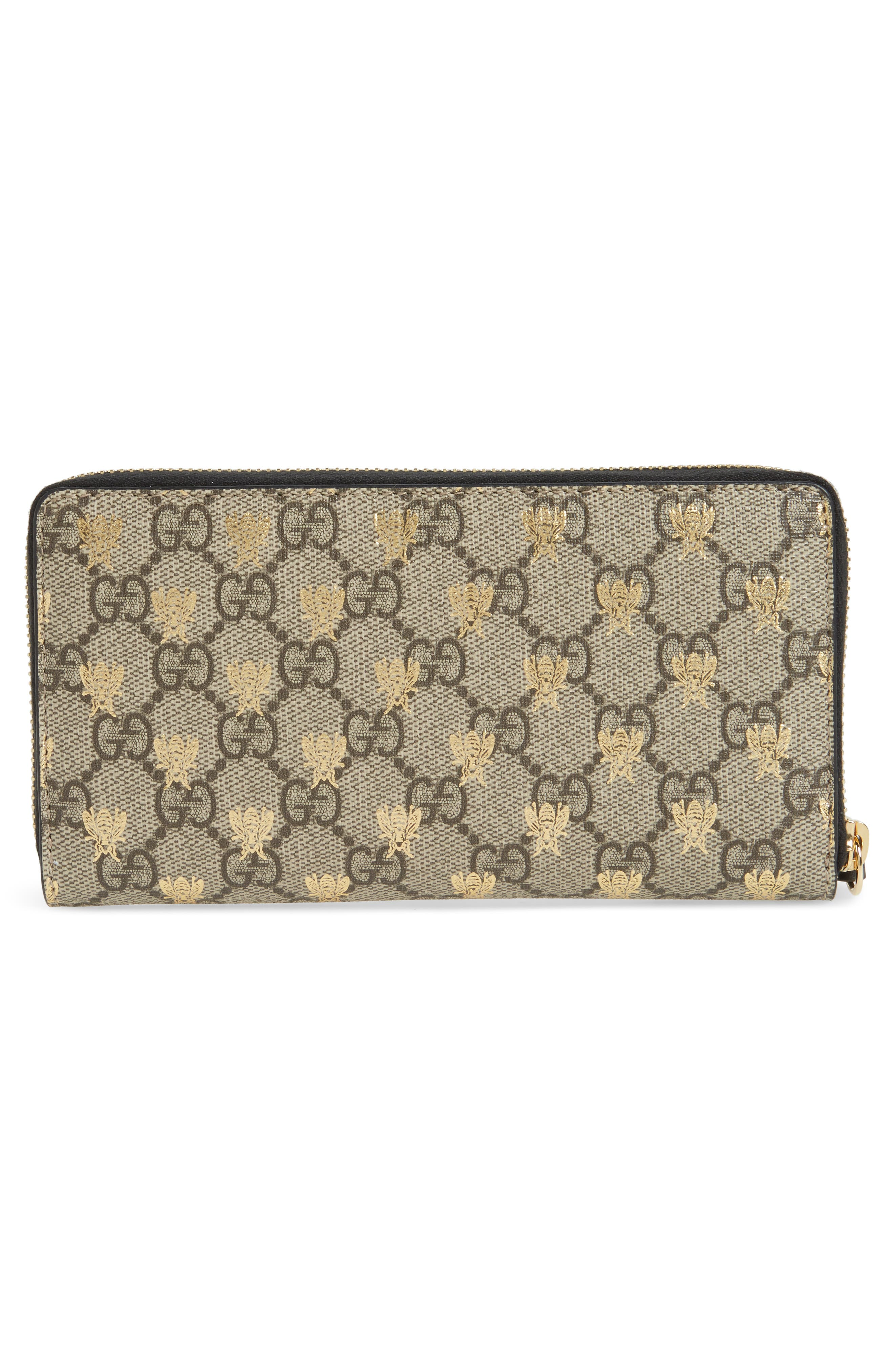 Alternate Image 4  - Gucci Linea A Bee GG Zip-Around Wallet