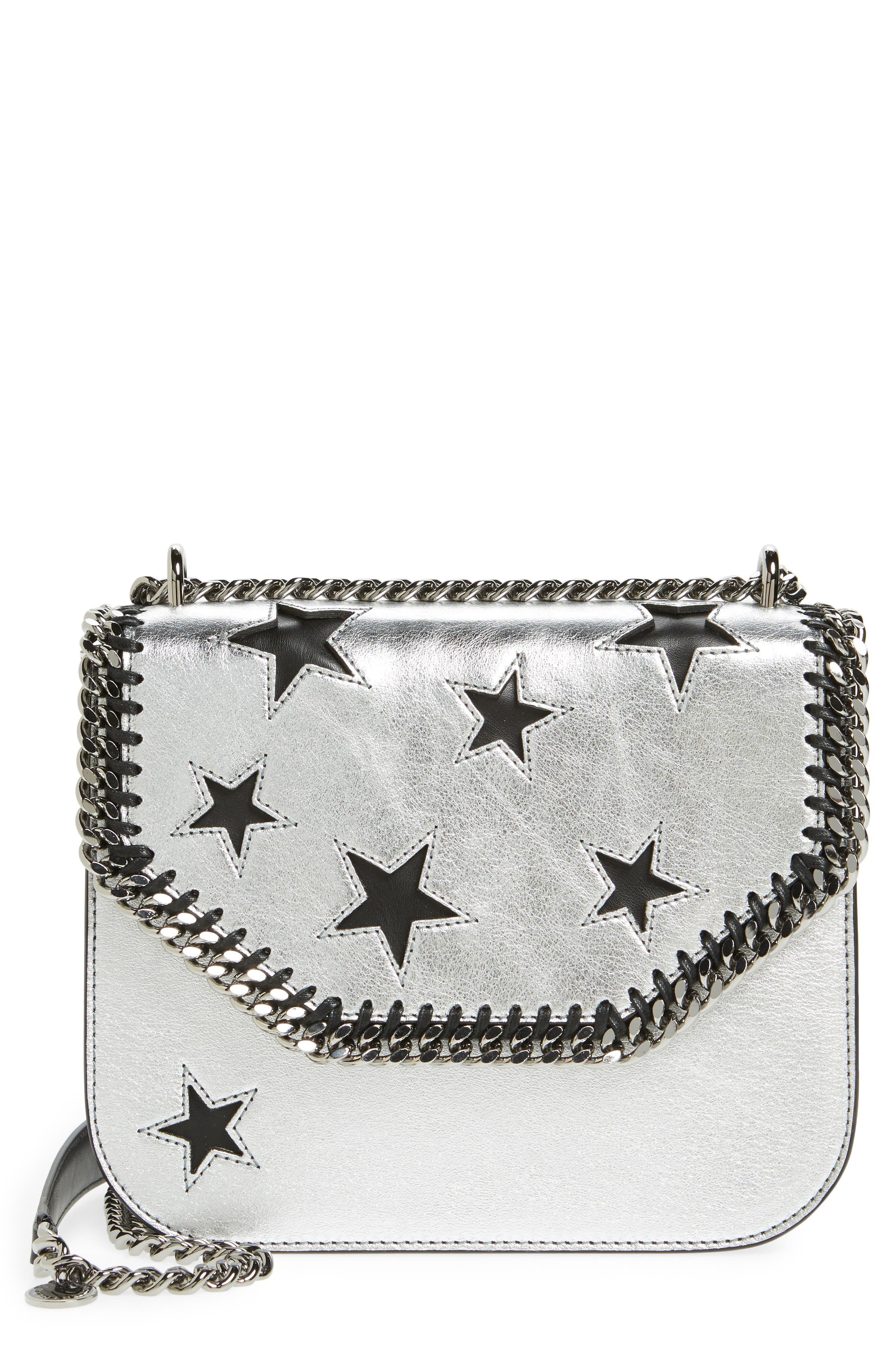 Falabella Star Cutout Metallic Faux Leather Shoulder Bag,                             Main thumbnail 1, color,                             Silver