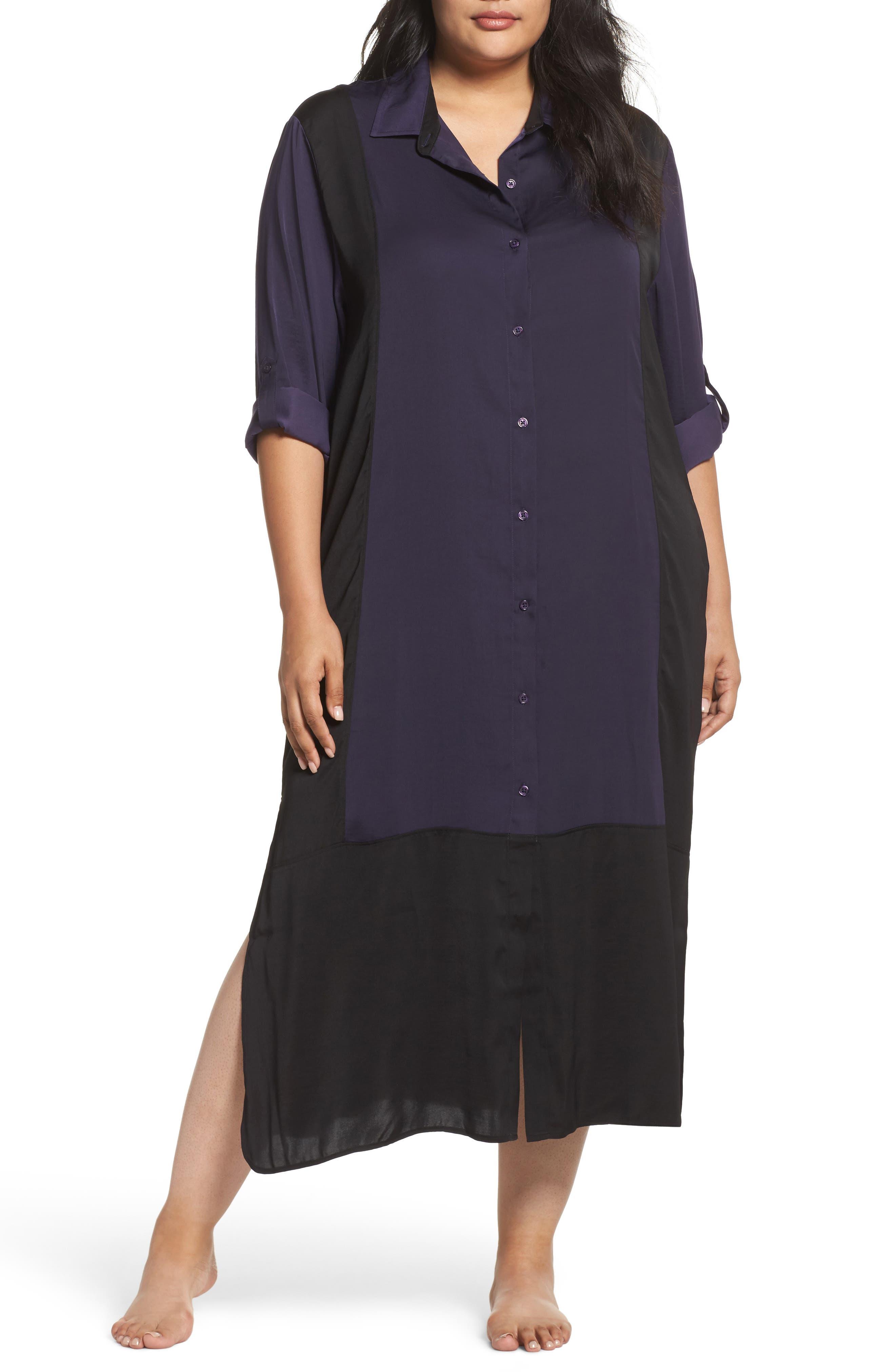 Satin Maxi Sleep Shirt,                         Main,                         color, Plum