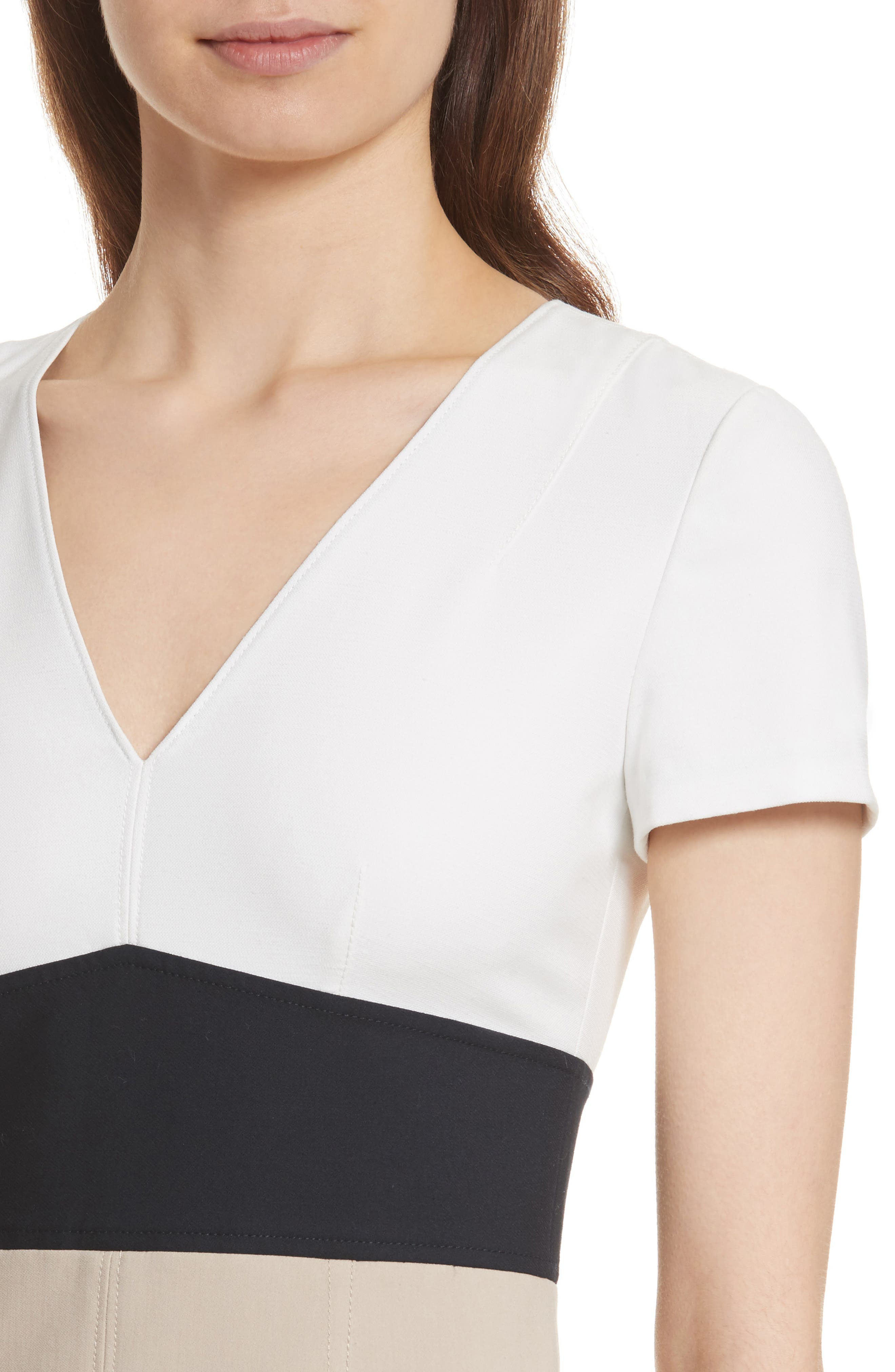 Diane von Furstenberg Colorblock Stretch Cotton Blend Sheath Dress,                             Alternate thumbnail 4, color,                             Sand/ Alexander Navy/ White