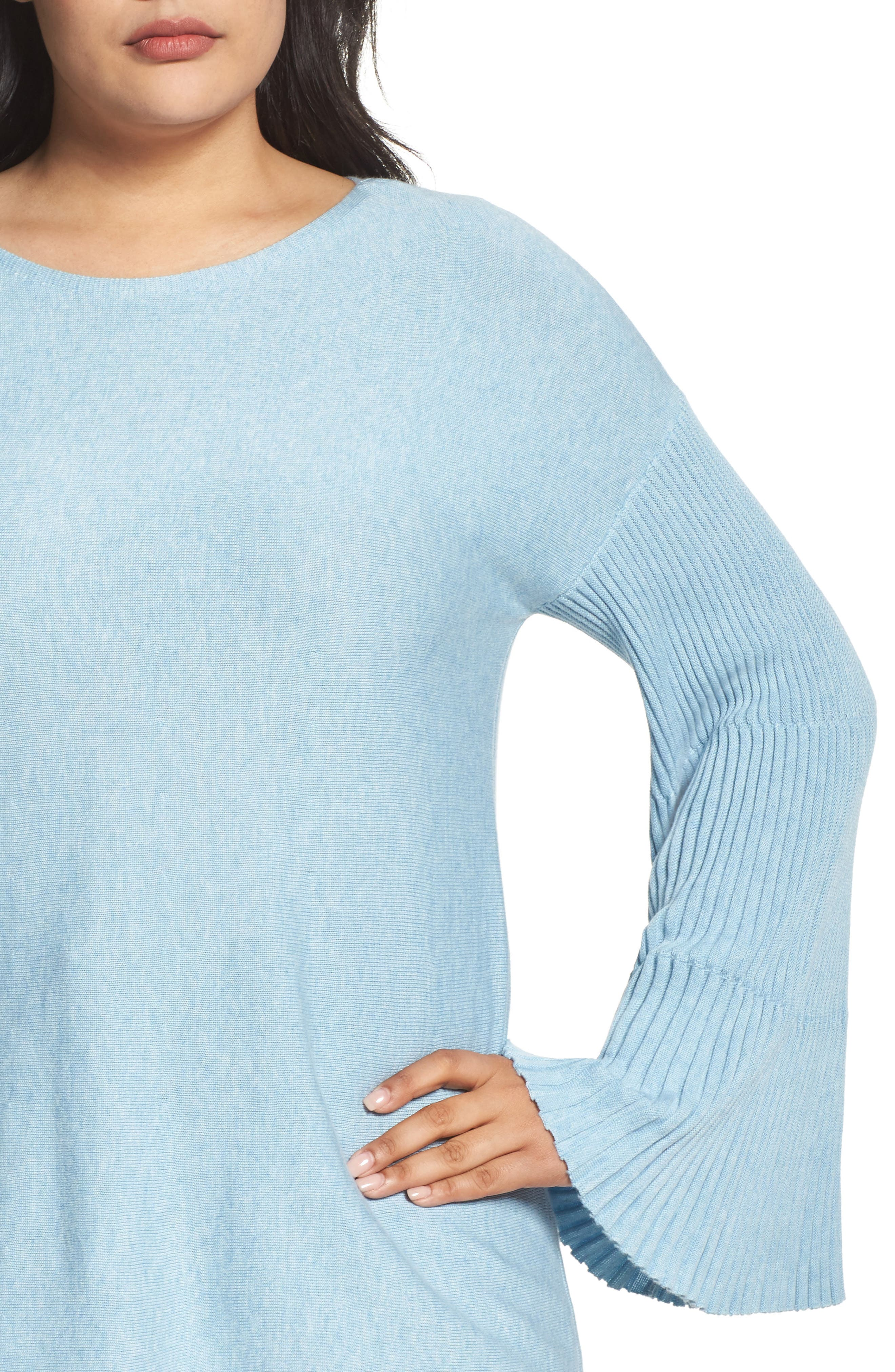 Alternate Image 4  - Vince Camuto Ribbed Bell Sleeve Sweater (Plus Size)