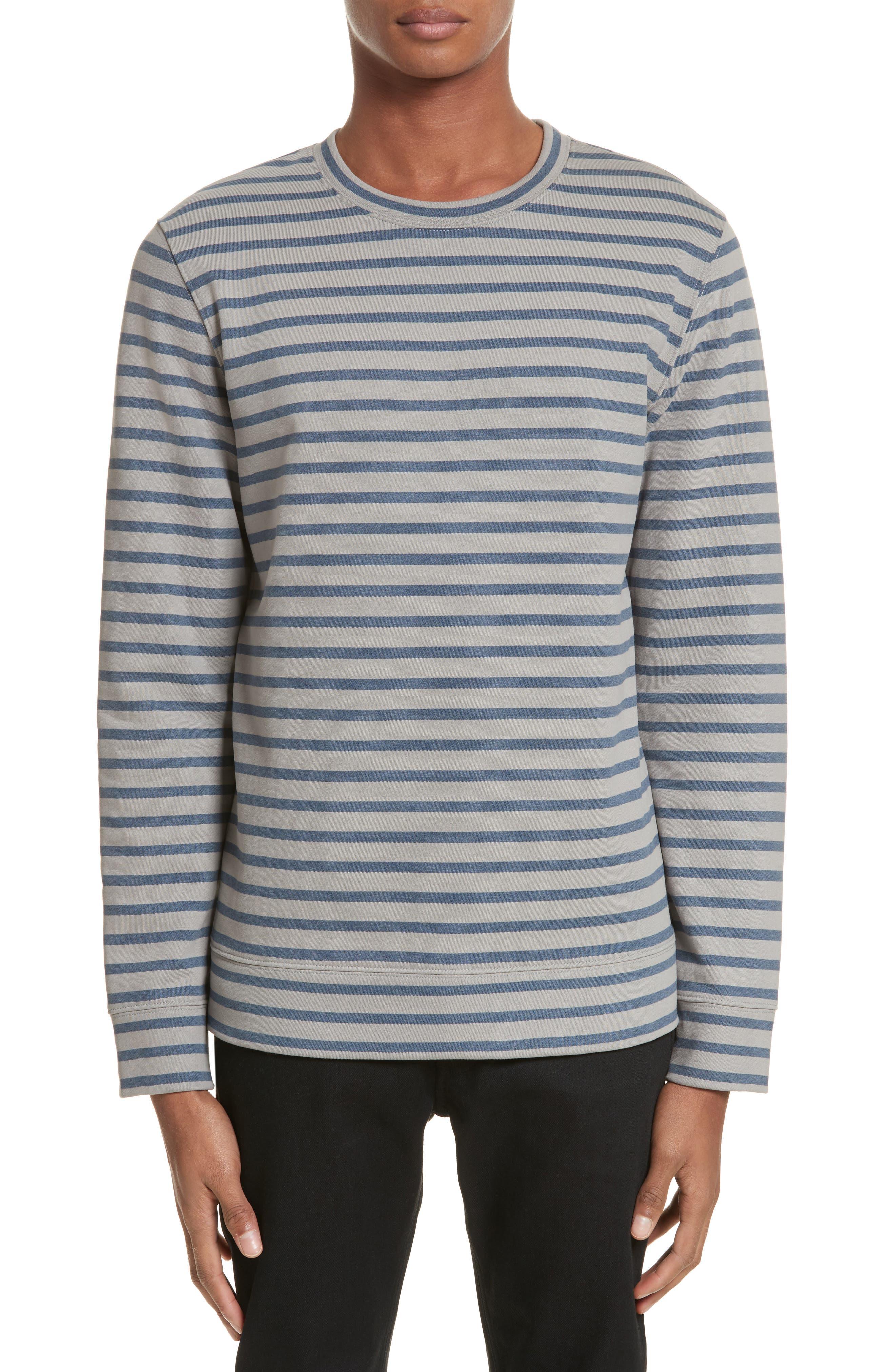 Albert Stripe Crewneck Sweatshirt,                         Main,                         color, Bleu Gris Iac