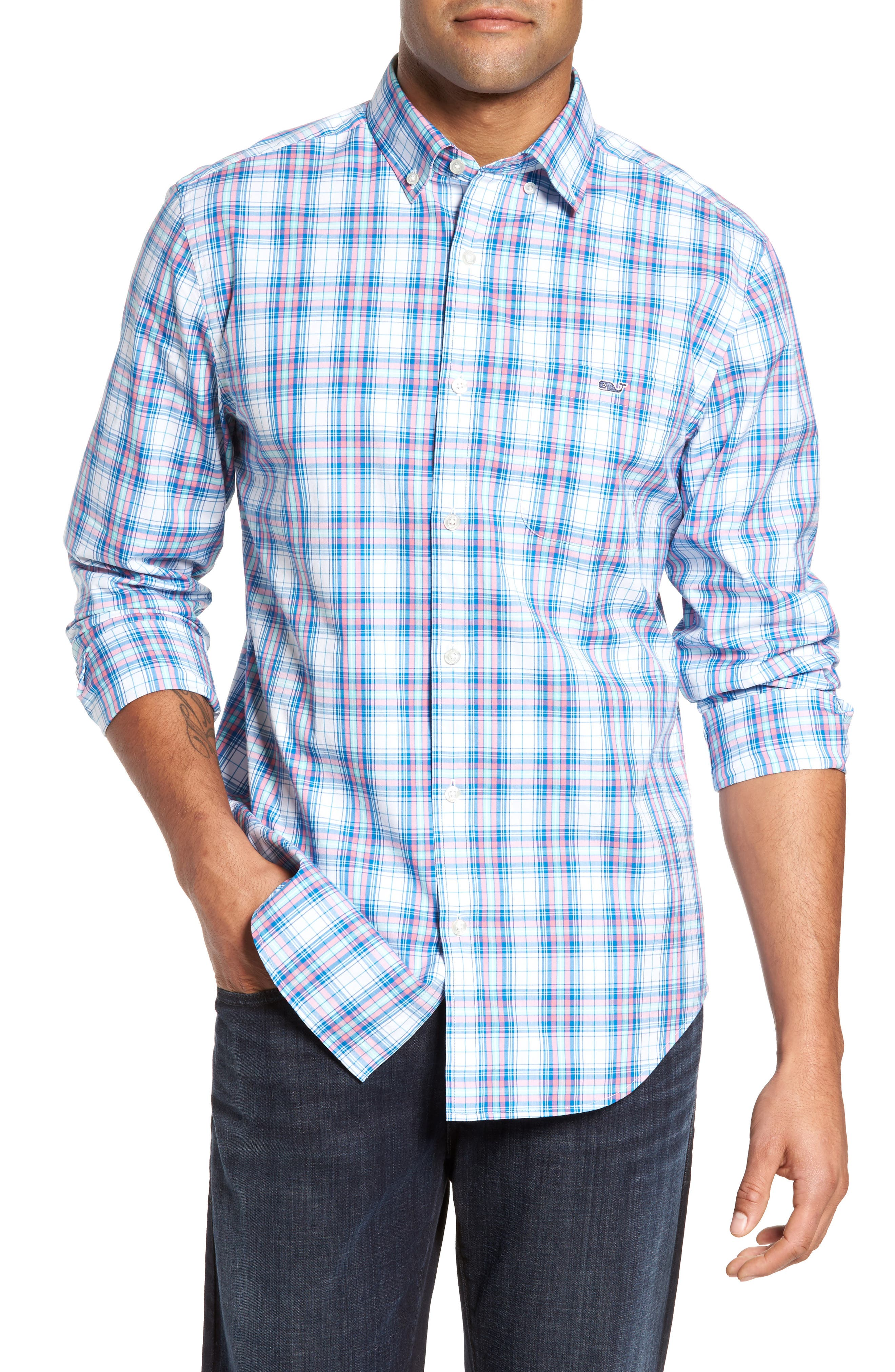 Tucker Sunset Pines Classic Fit Plaid Sport Shirt,                         Main,                         color, Bahama Breeze