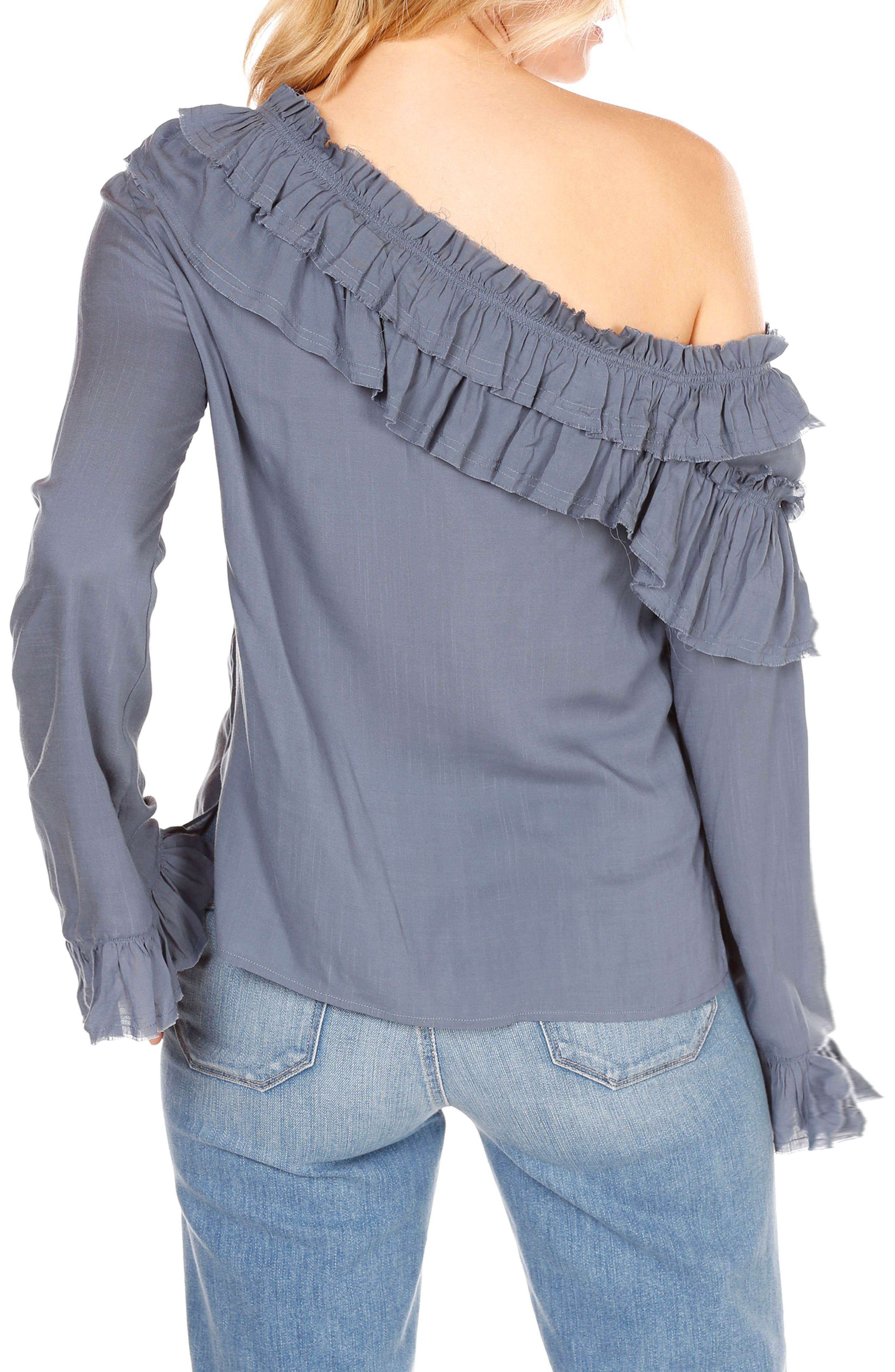 Augustina One-Shoulder Top,                             Alternate thumbnail 2, color,                             China Blue