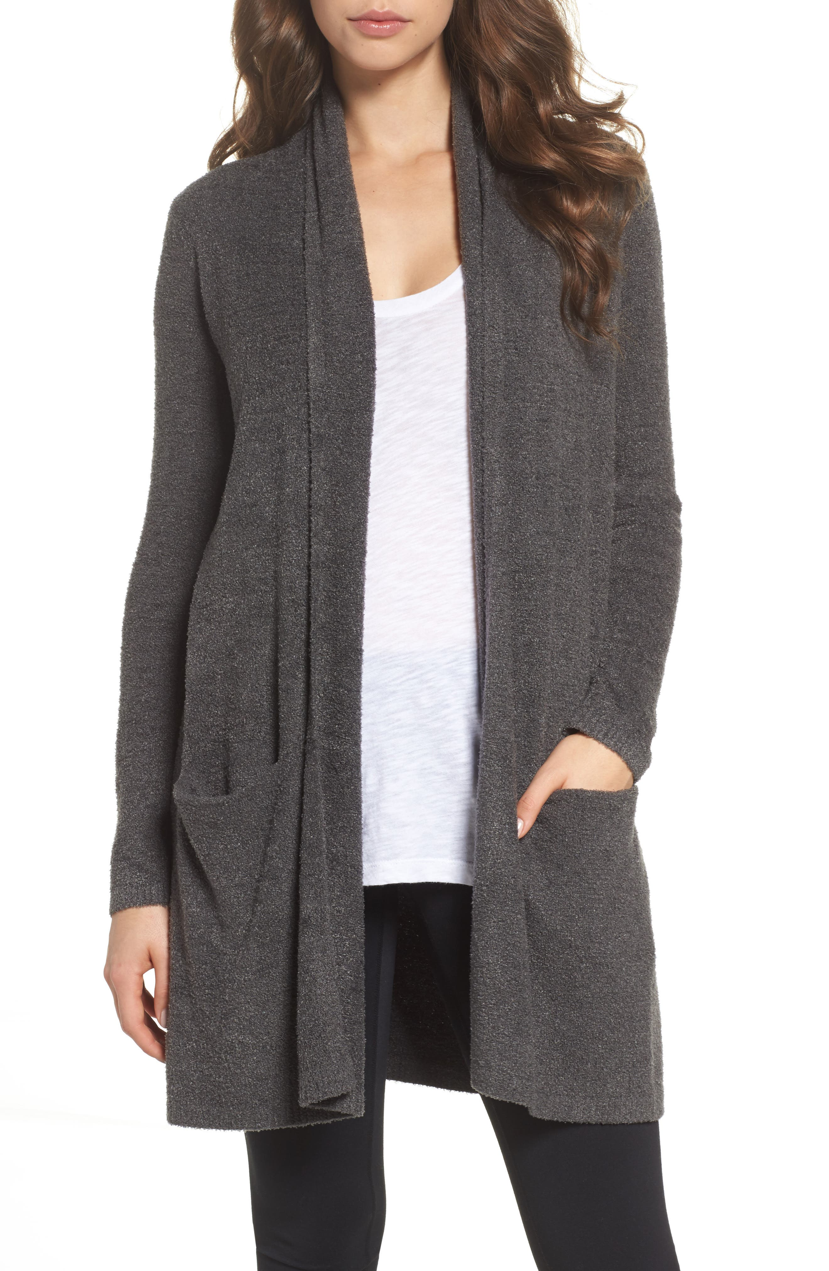 Barefoot Dreams Essential Cardigan,                             Main thumbnail 1, color,                             Carbon