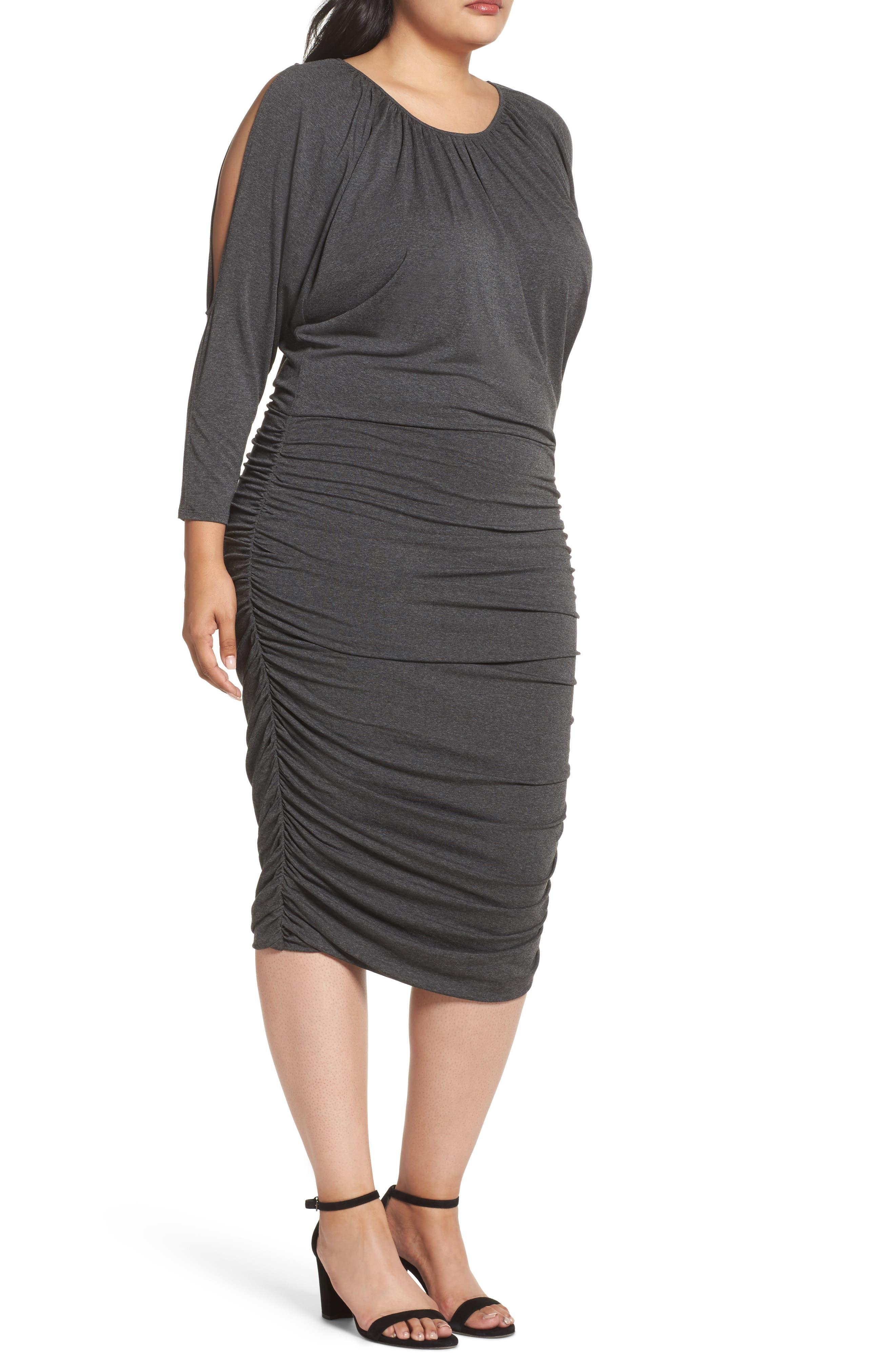 Slit Sleeve Knit Sheath Dress,                             Alternate thumbnail 3, color,                             Medium Heather Grey