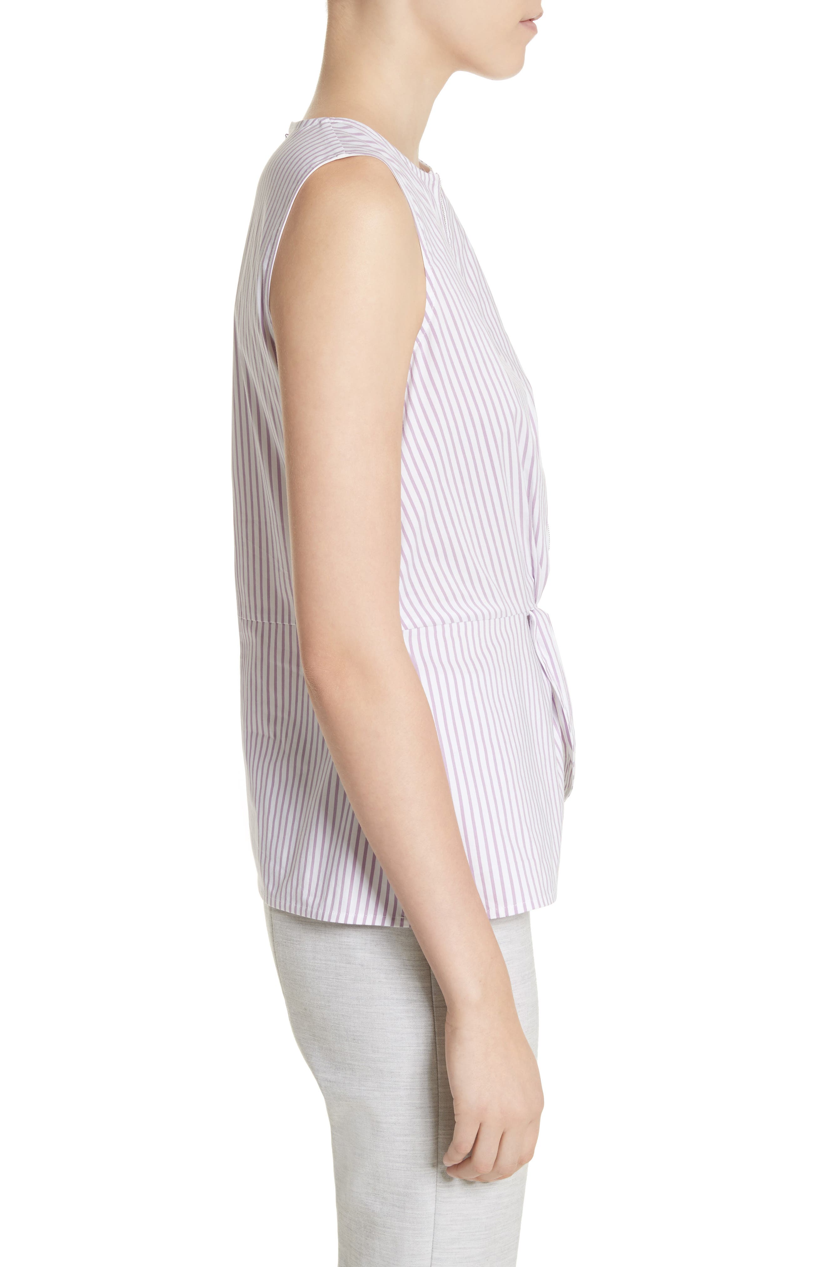Pinstripe Twist Front Top,                             Alternate thumbnail 3, color,                             Orchid/ Bianco