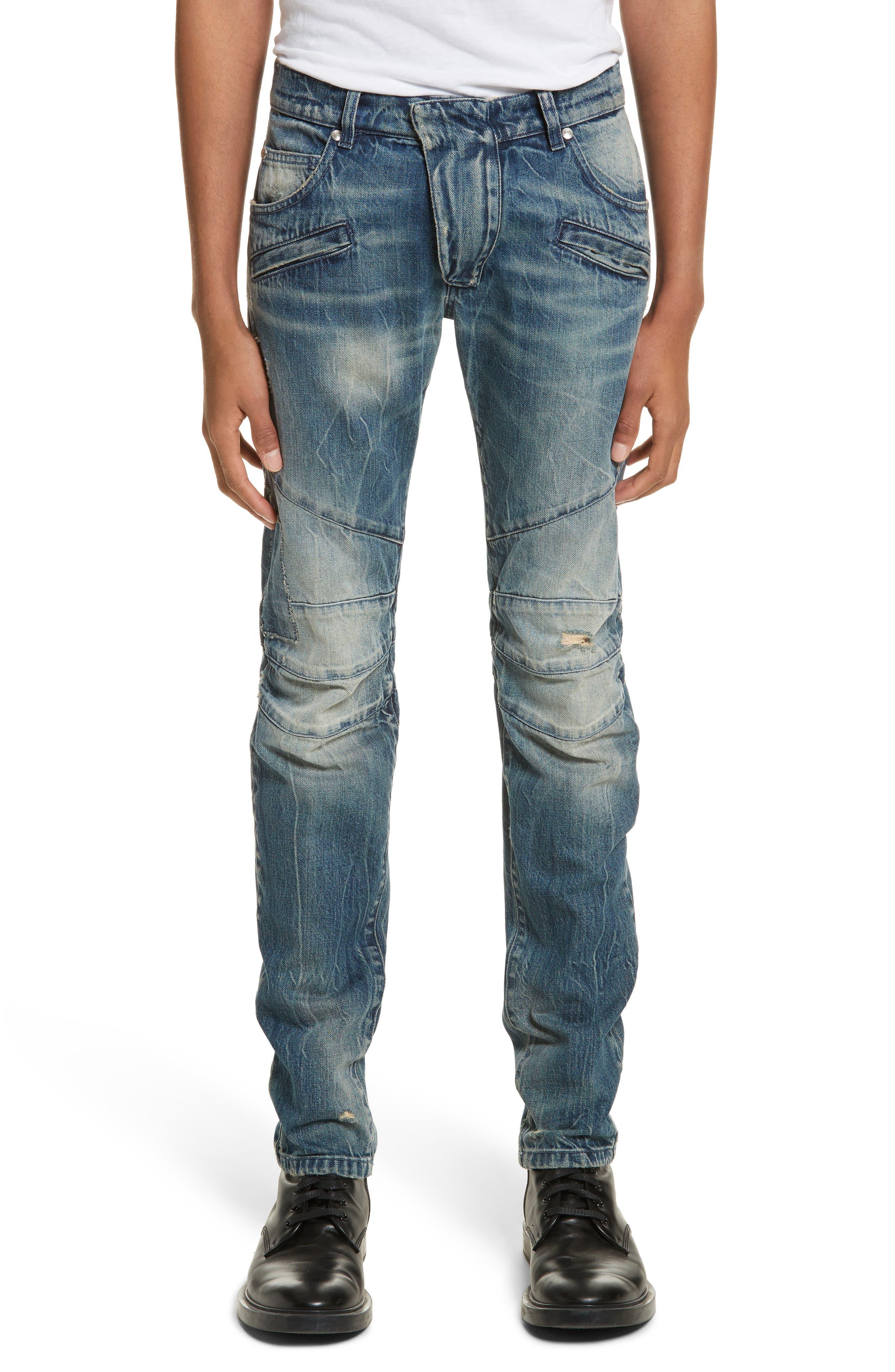 Biker Jeans,                         Main,                         color, Denim Blue