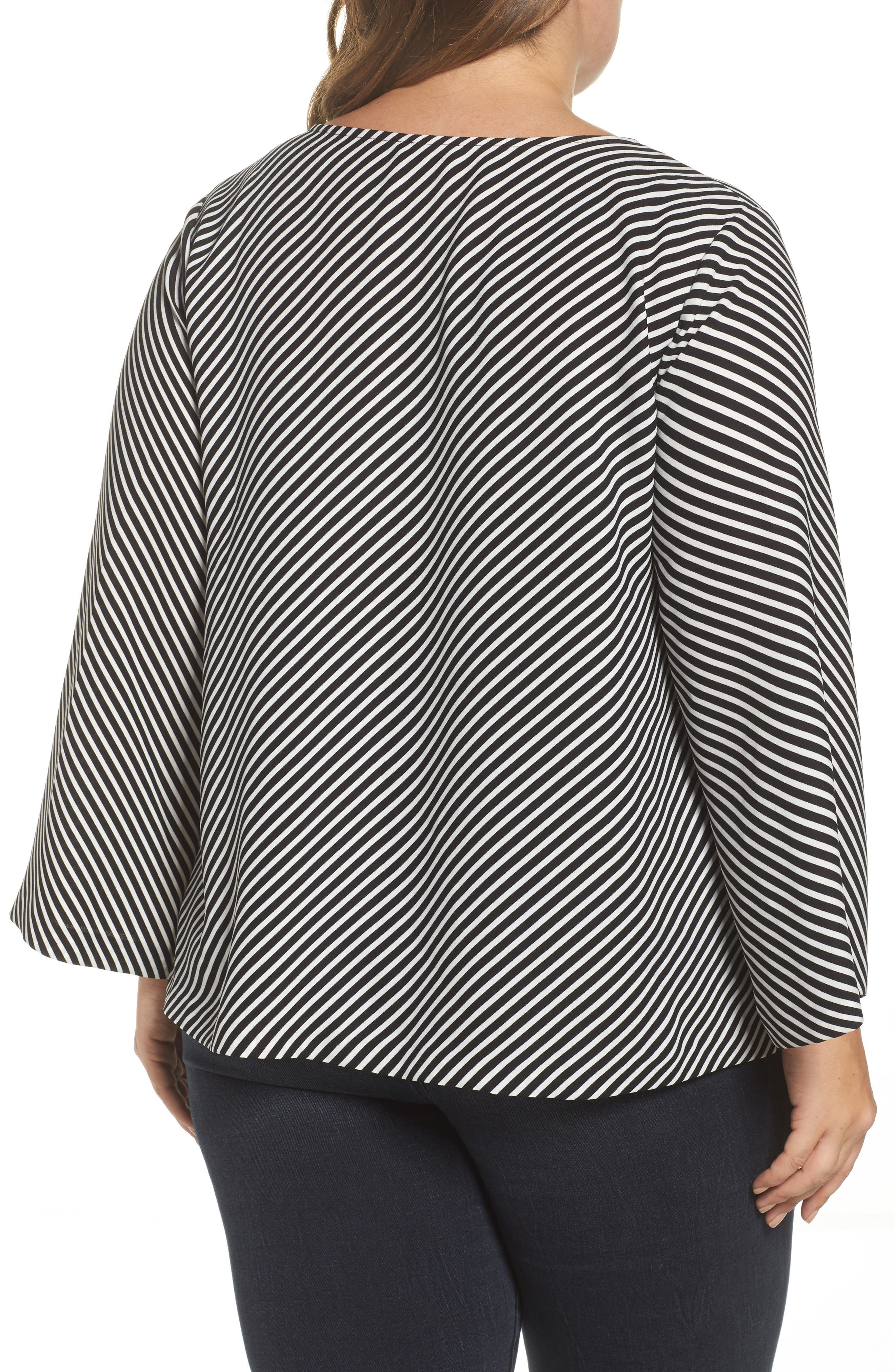 Alternate Image 2  - Vince Camuto Bell Sleeve Diagonal Stripe Blouse (Plus Size)
