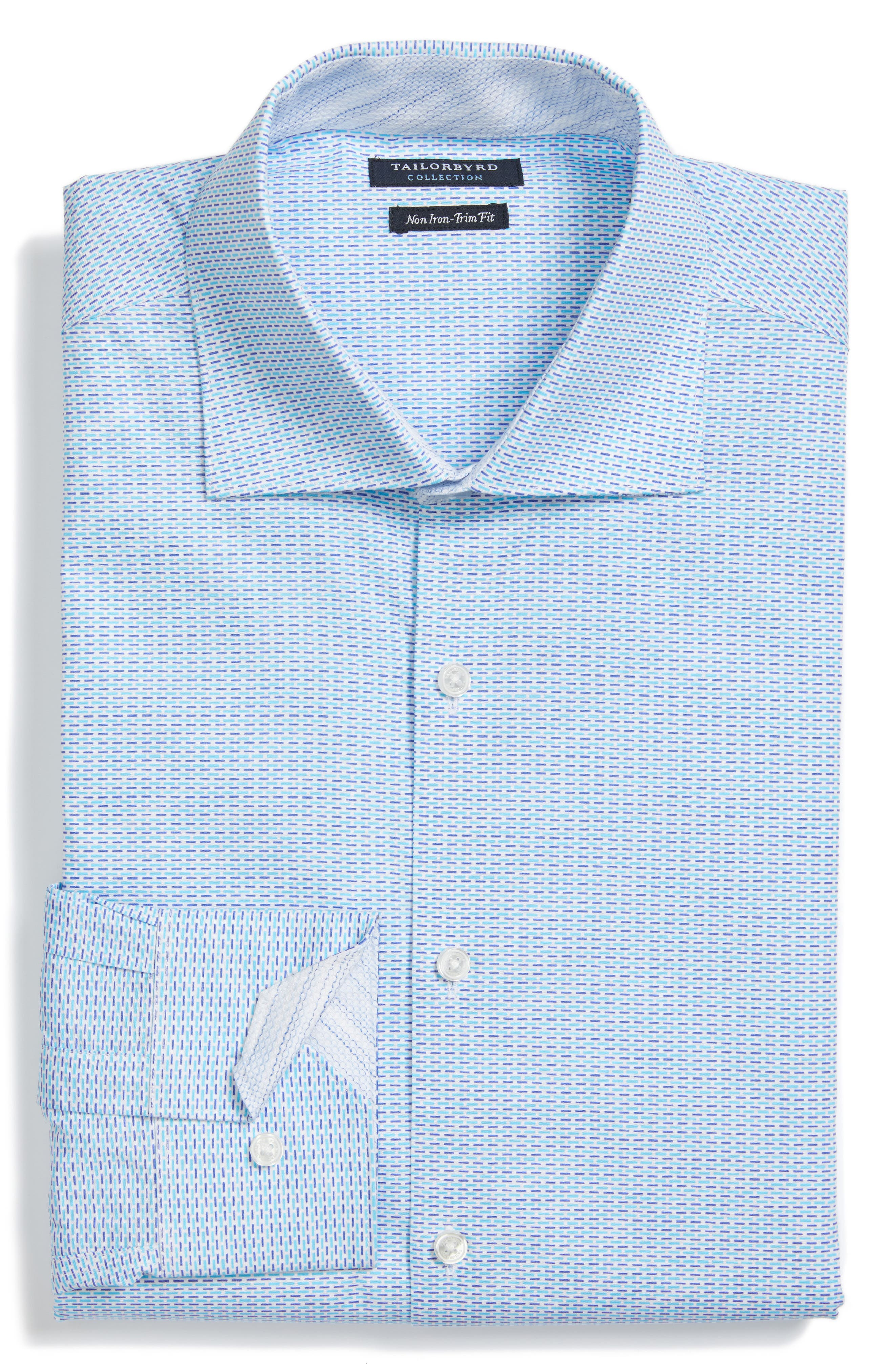 Trim Fit Geometric Dress Shirt,                             Alternate thumbnail 4, color,                             Aqua