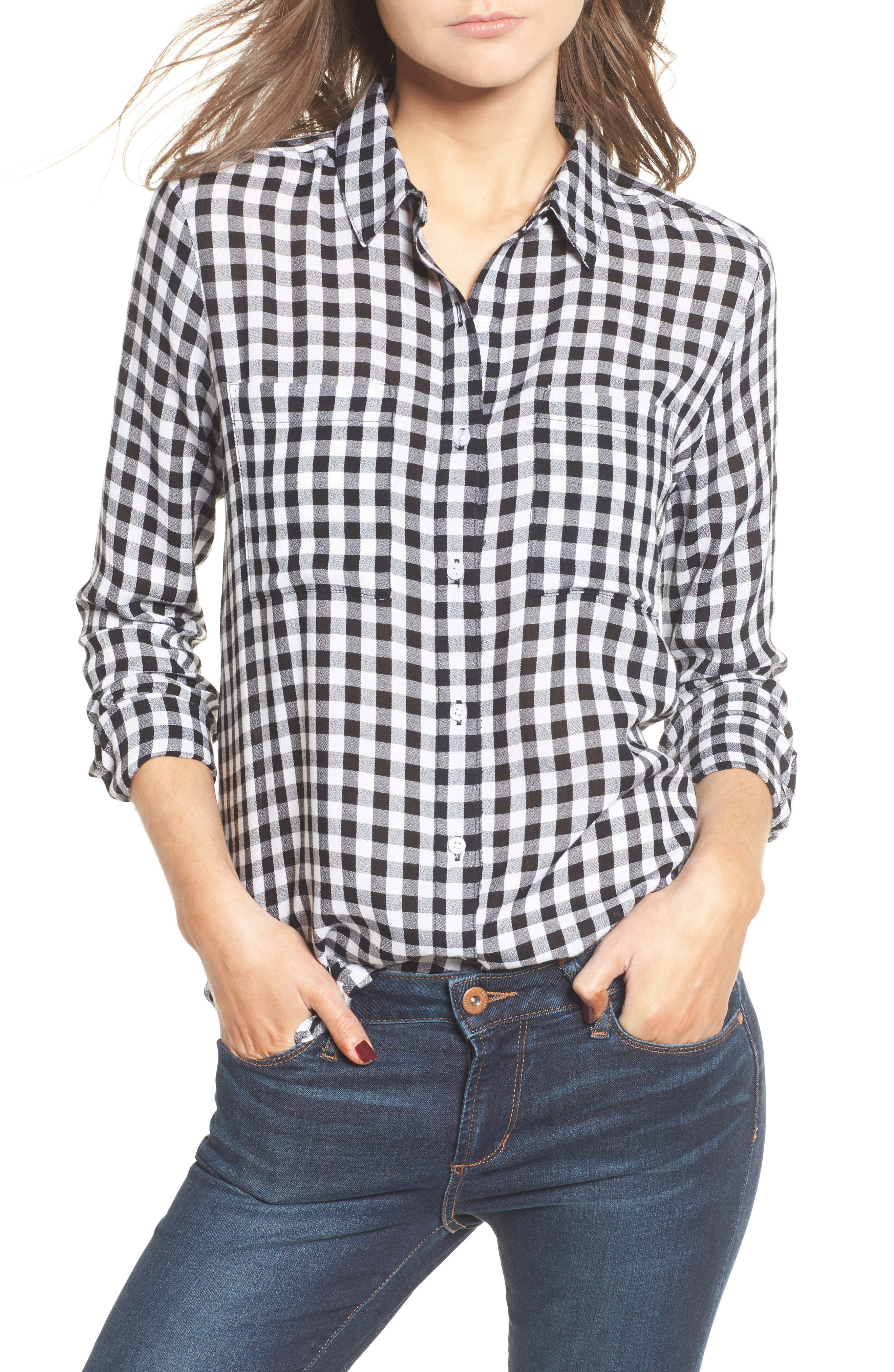 The Perfect Shirt,                             Main thumbnail 1, color,                             Black Annete Check