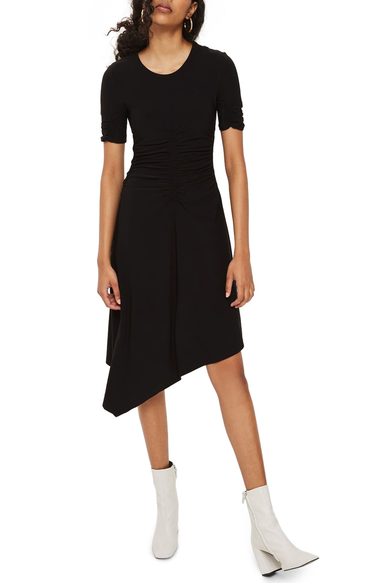 Ruched Asymmetrical Dress,                             Main thumbnail 1, color,                             Black