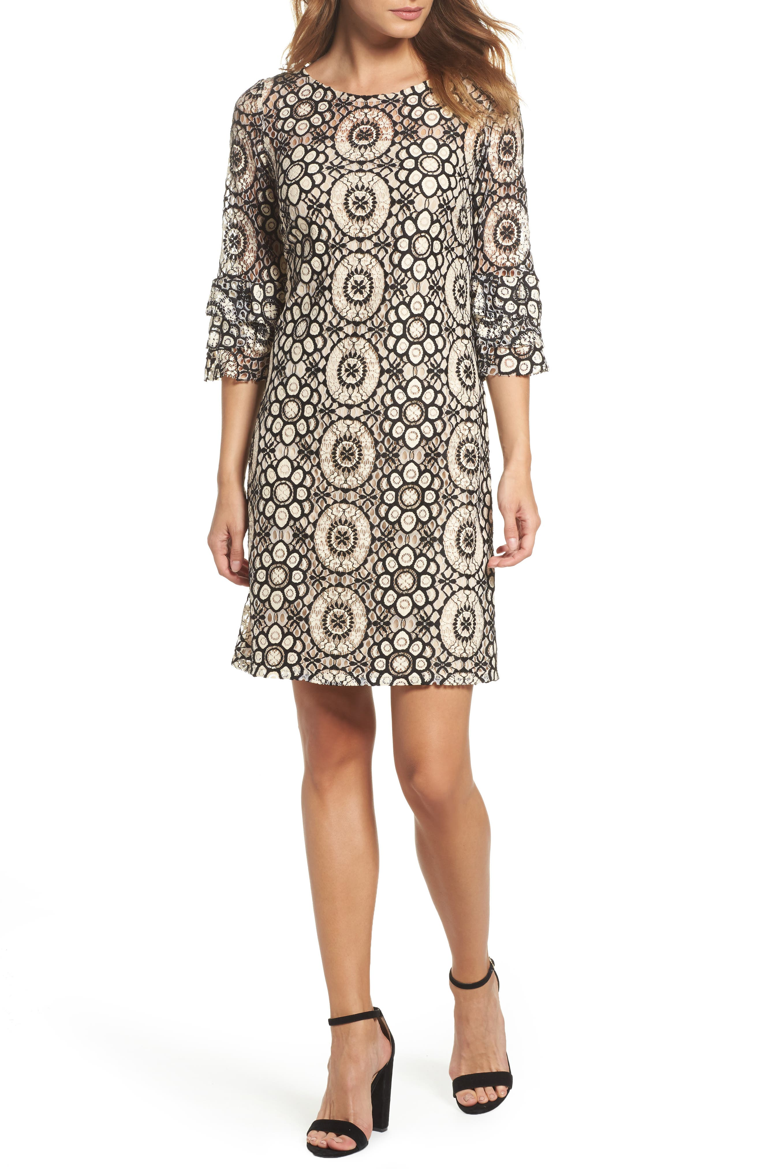 Tiered Sleeve Lace Shift Dress,                             Main thumbnail 1, color,                             Cream/ Black