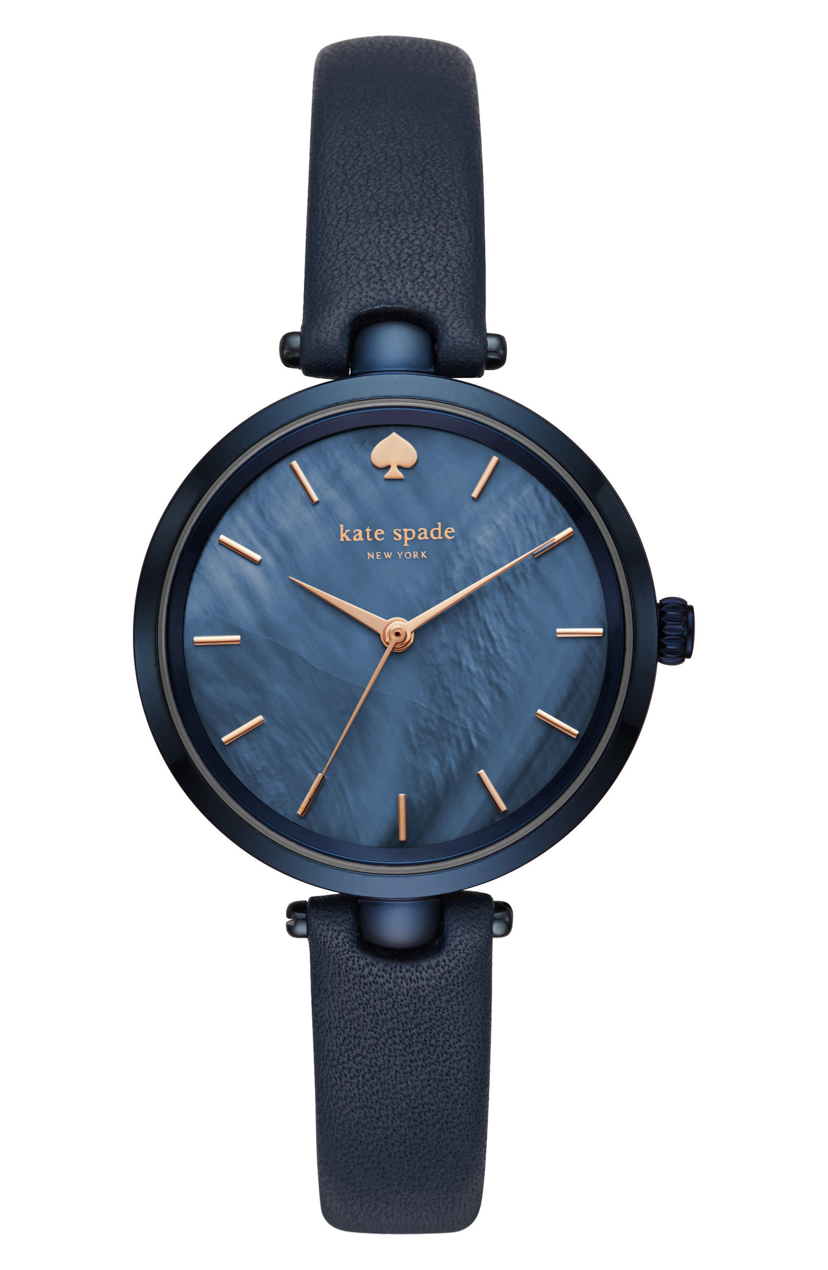 holland leather strap watch, 34mm,                         Main,                         color, Blue