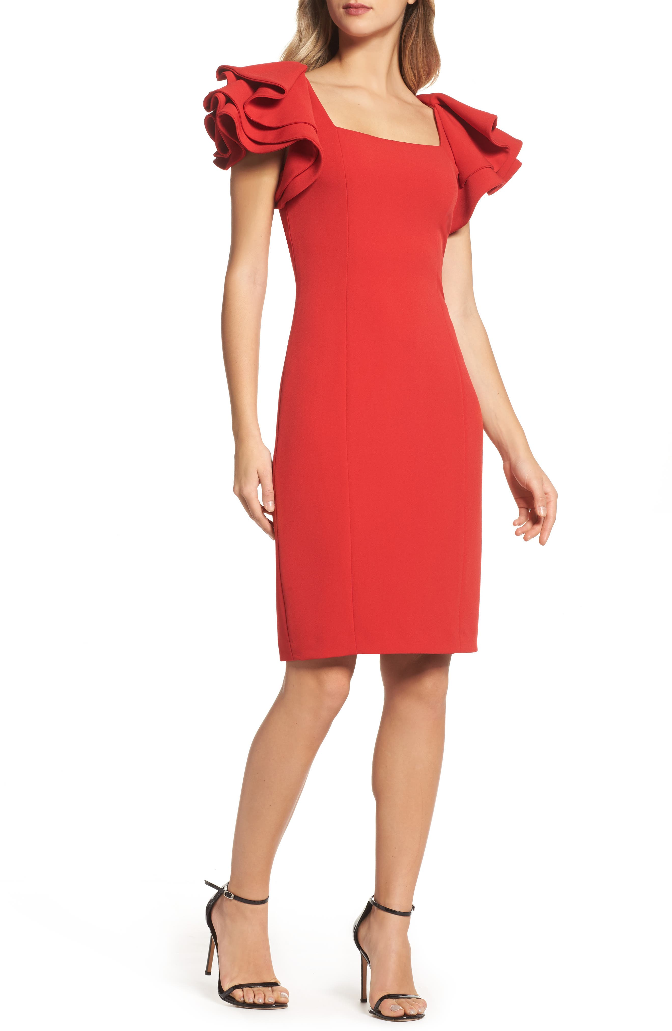Badgley Mischka Ruffle Sleeve Sheath Dress