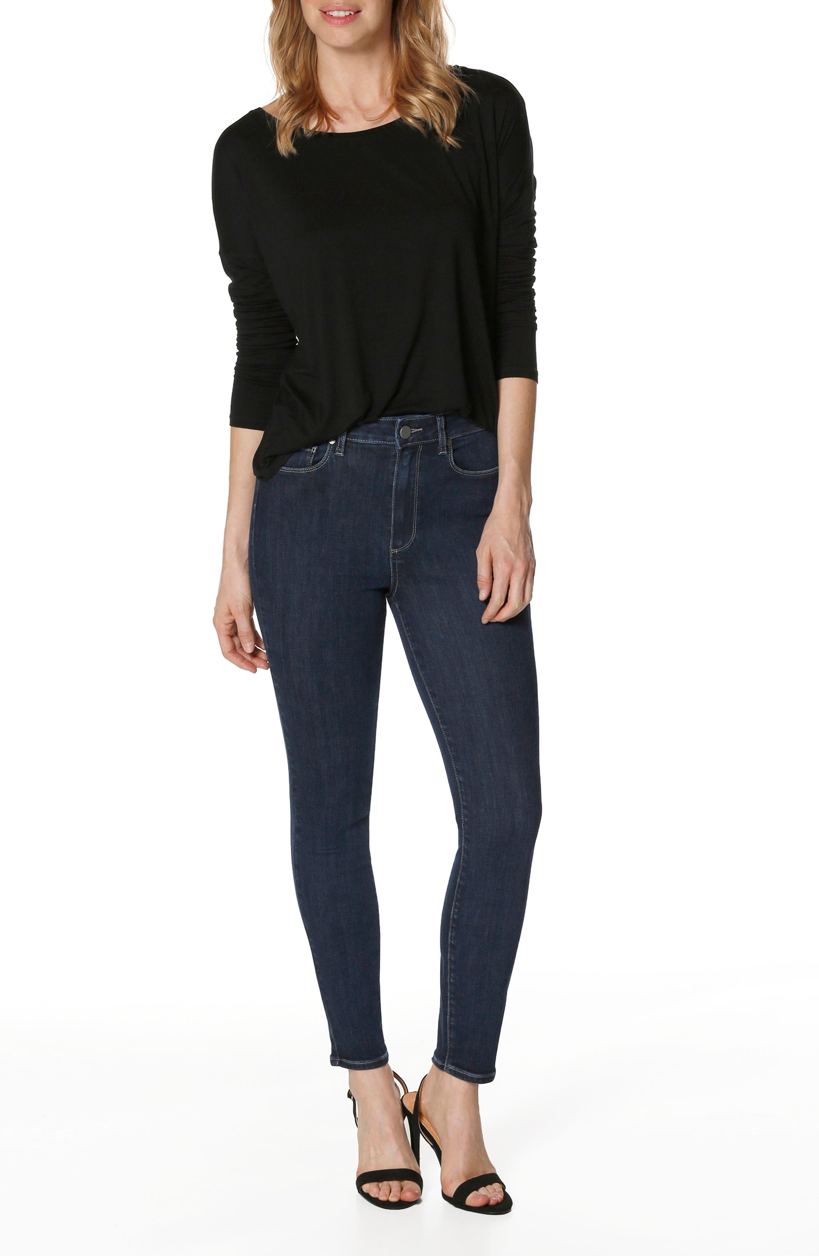 Transcend Vintage - Margot High Waist Ankle Ultra Skinny Jeans,                             Alternate thumbnail 3, color,                             Regal
