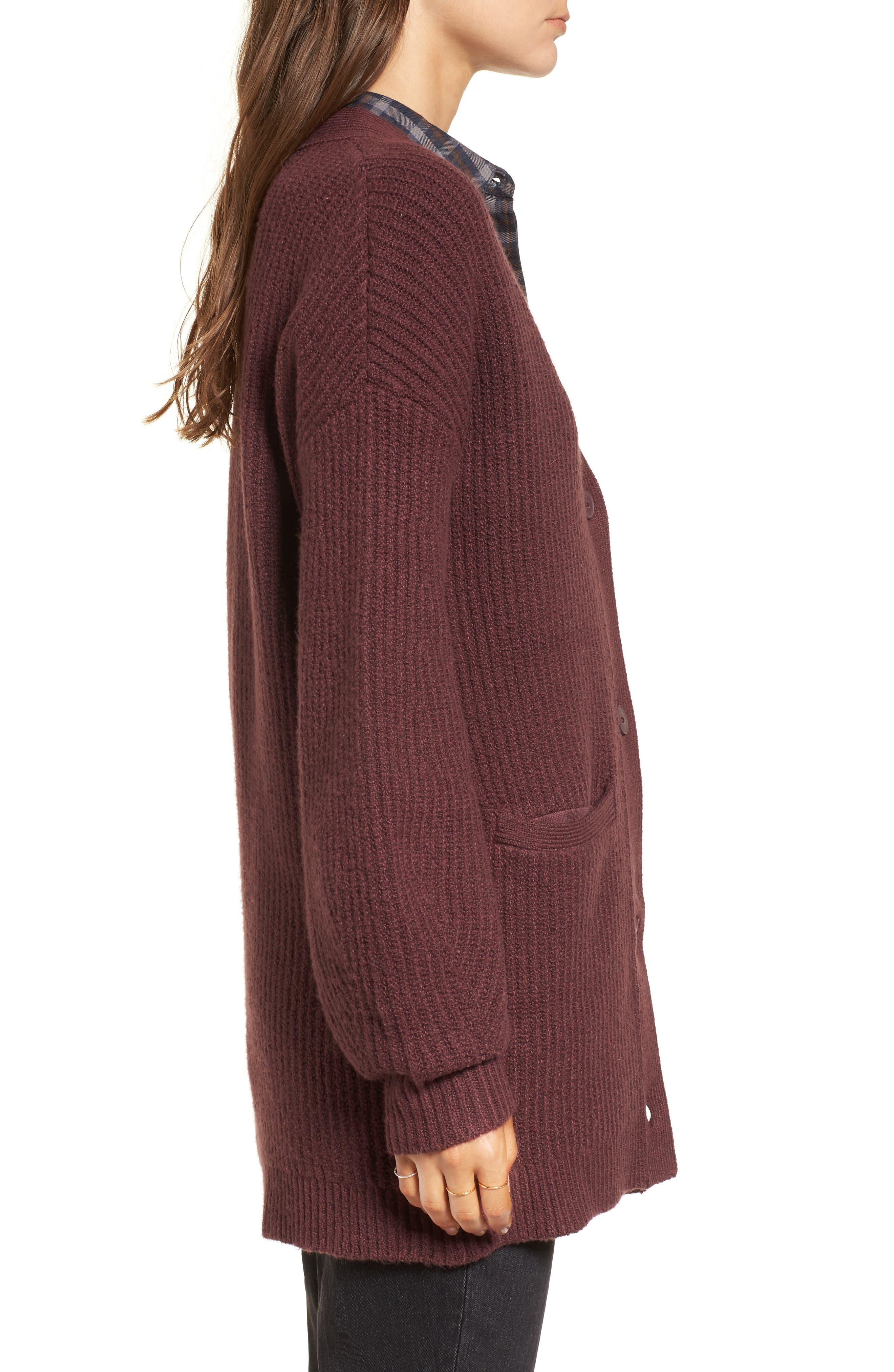 Ribbed Cardigan Sweater,                             Alternate thumbnail 3, color,                             Burgundy Fudge