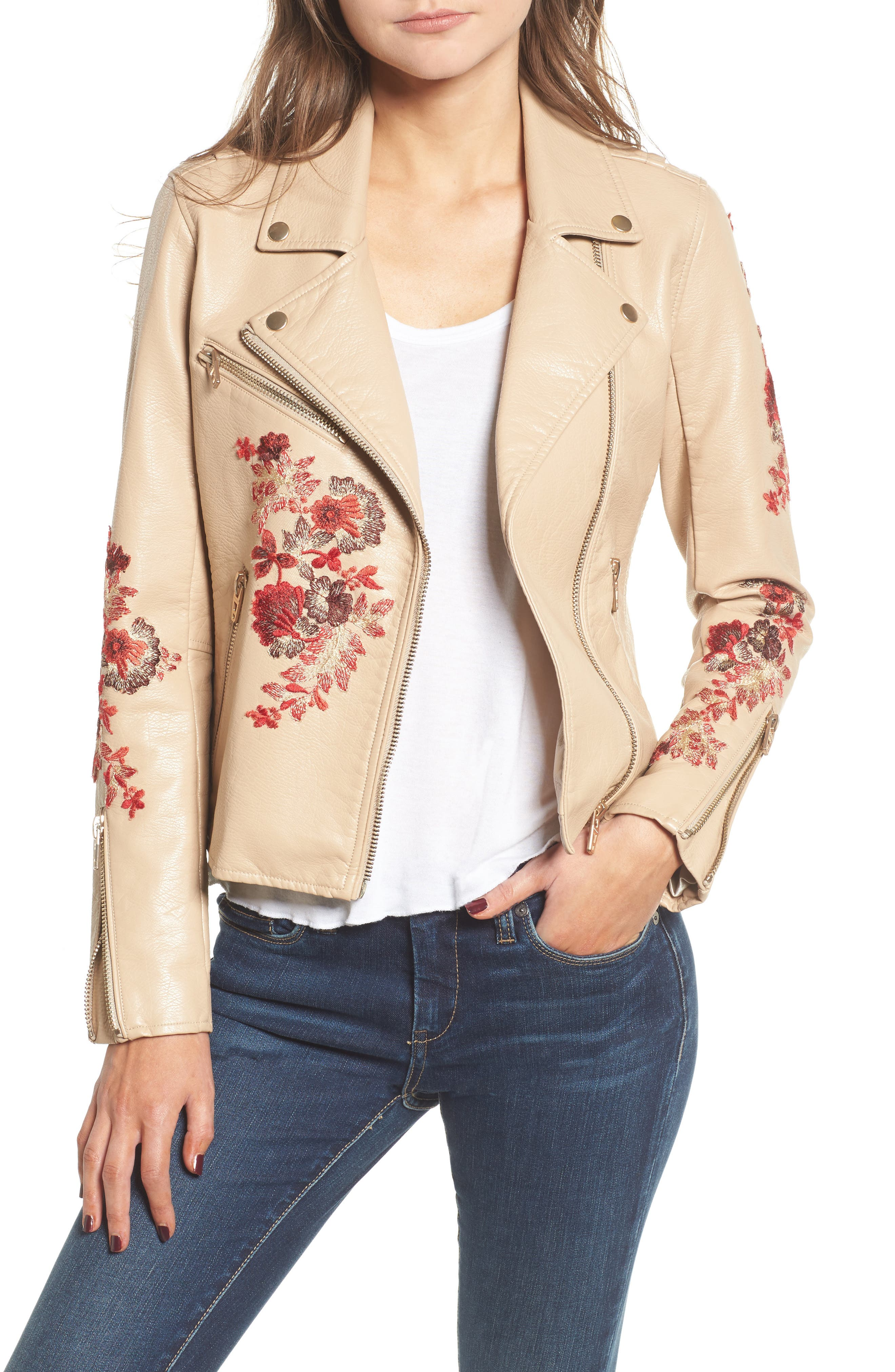 Embroidered Moto Jacket,                             Main thumbnail 1, color,                             Wildflower