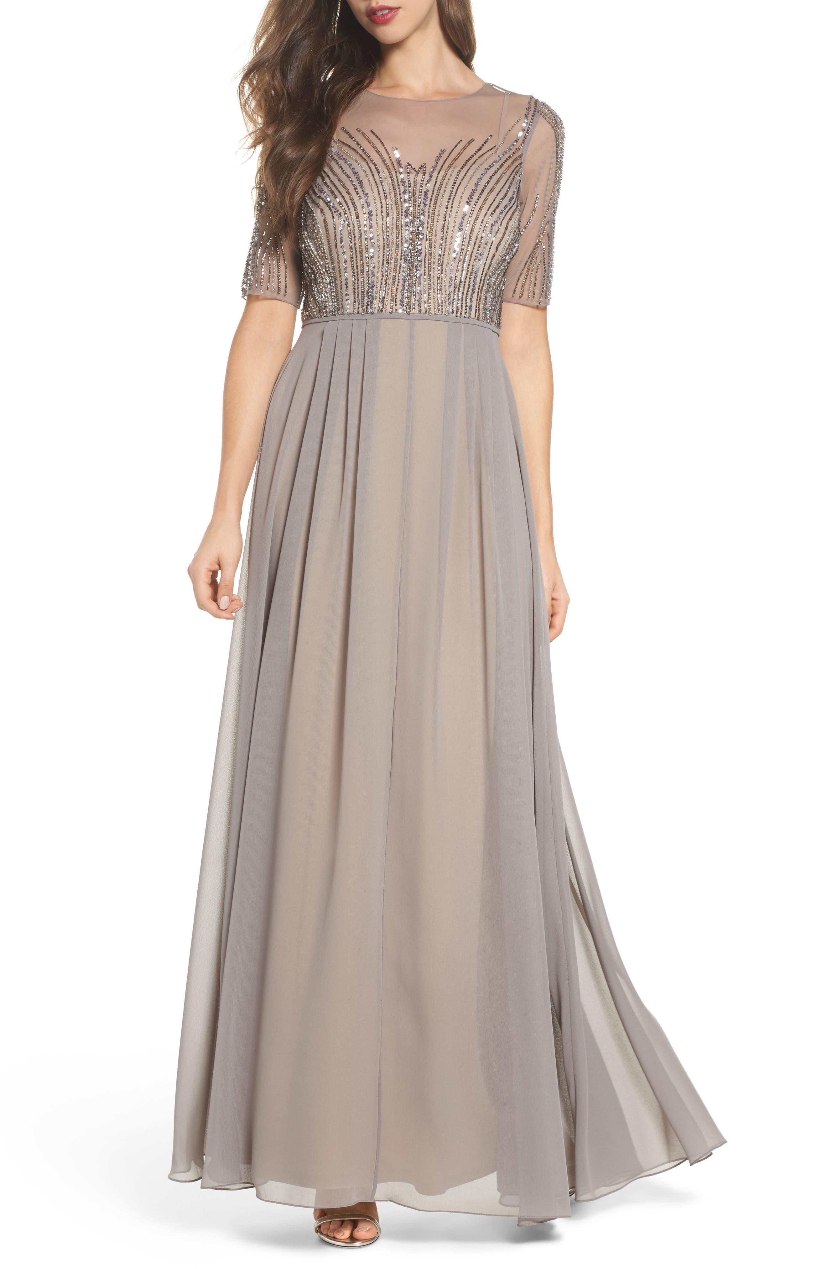 Embellished Georgette Gown,                         Main,                         color, Deep Platinum