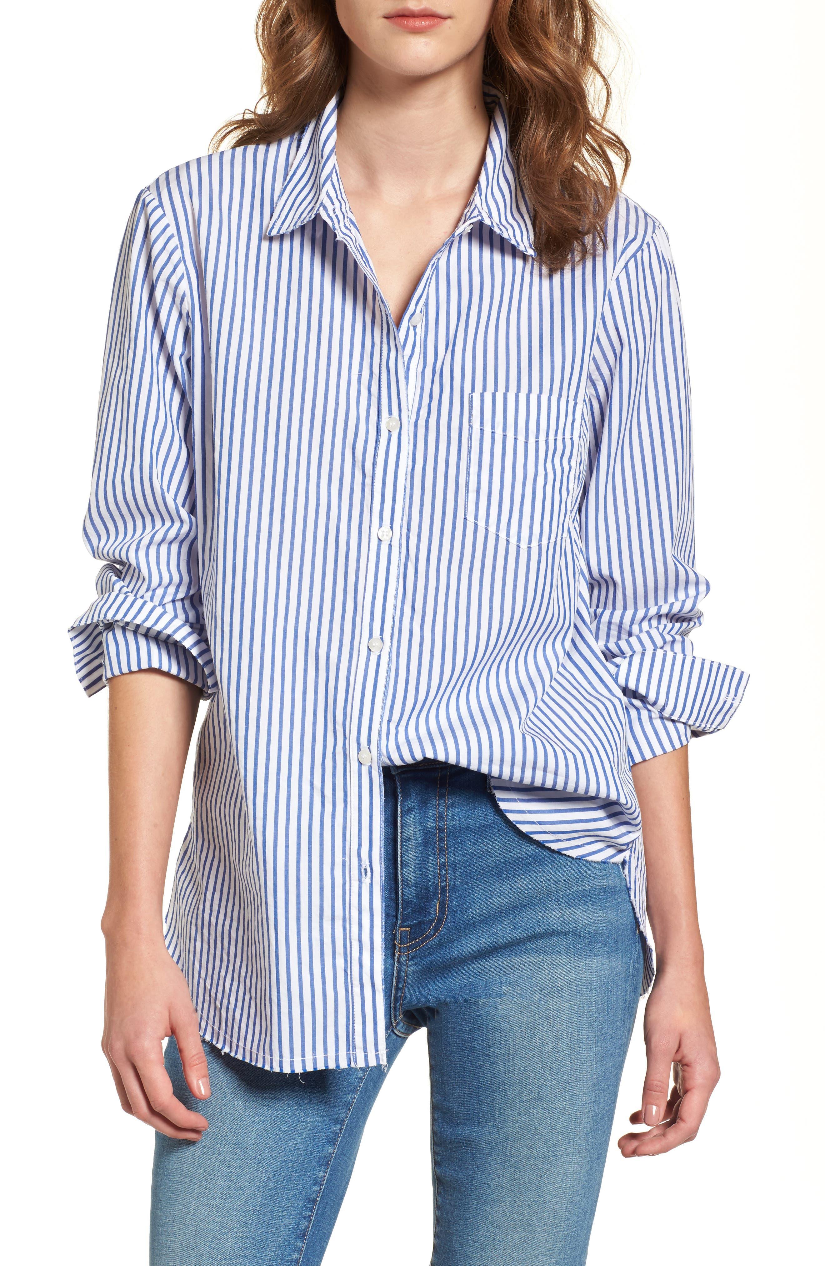 Stripe Oxford Shirt,                         Main,                         color, Vintage Blue