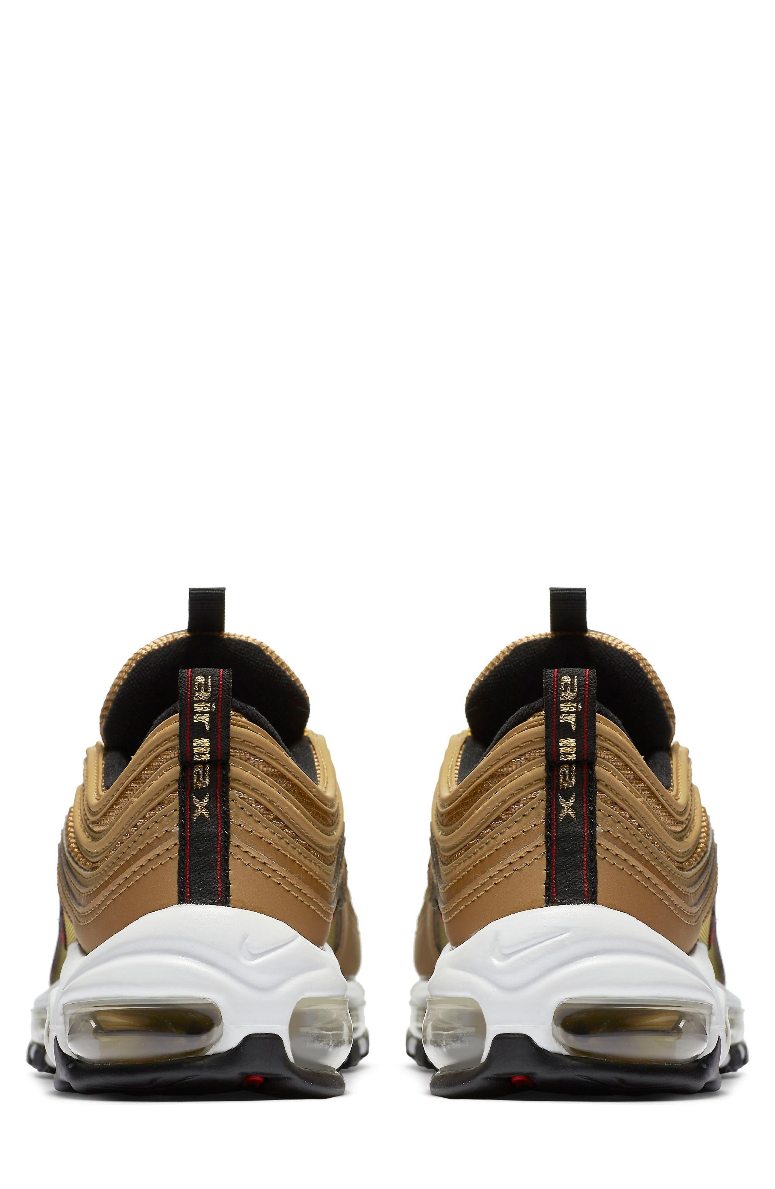 Air Max 97 OG Sneaker,                             Alternate thumbnail 5, color,                             Gold/ Red/ White/ Black