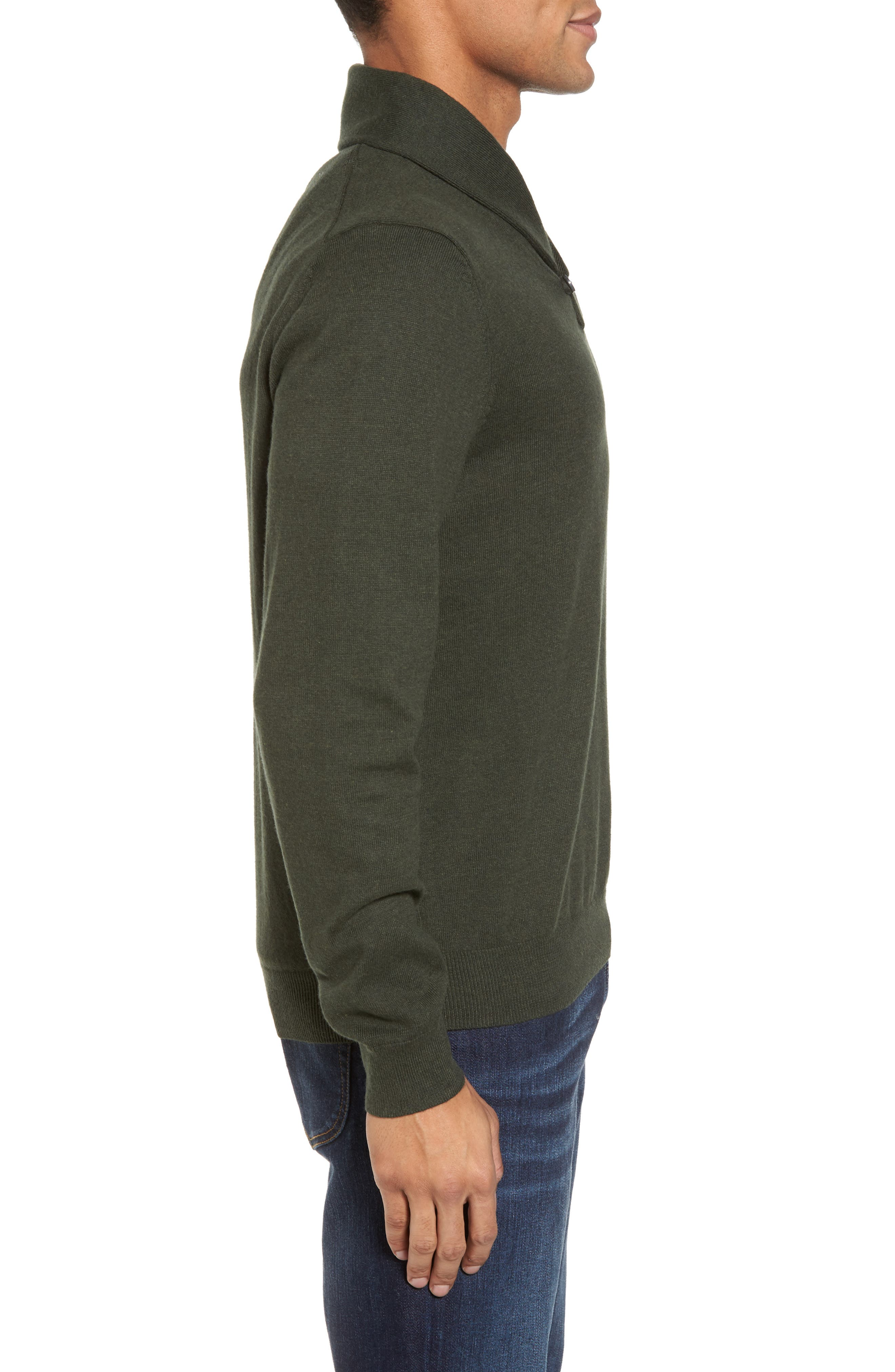 Cotton & Cashmere Shawl Collar Sweater,                             Alternate thumbnail 3, color,                             Green Deep Pine