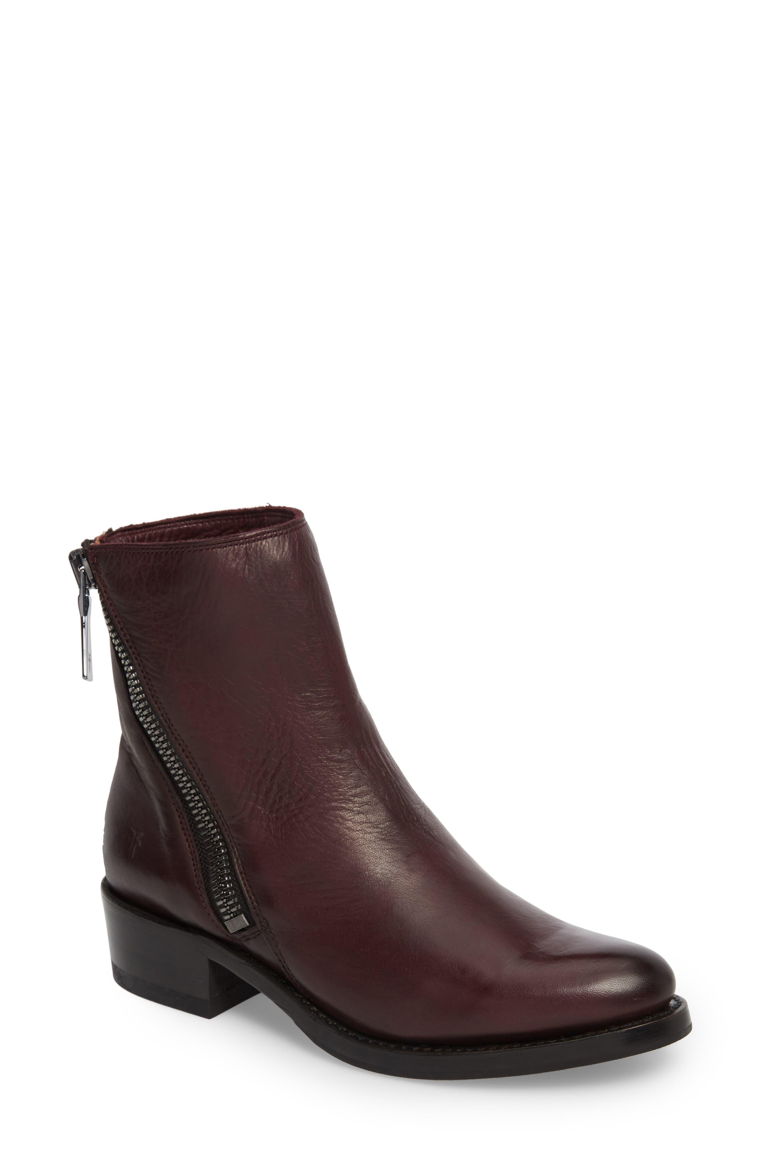 Demi Zip Bootie,                         Main,                         color, Wine Leather