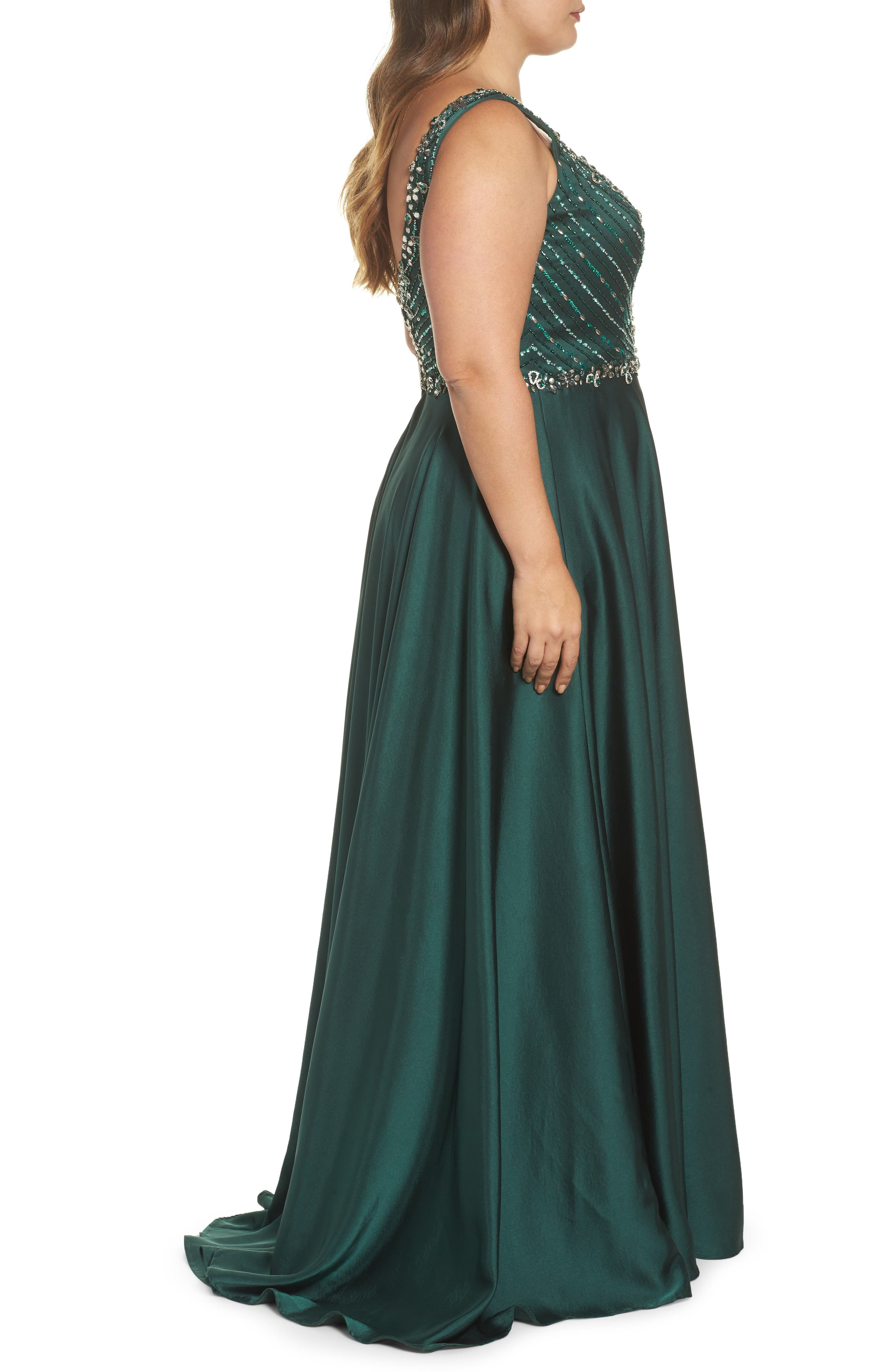 Beaded Bodice Gown,                             Alternate thumbnail 3, color,                             Emerald