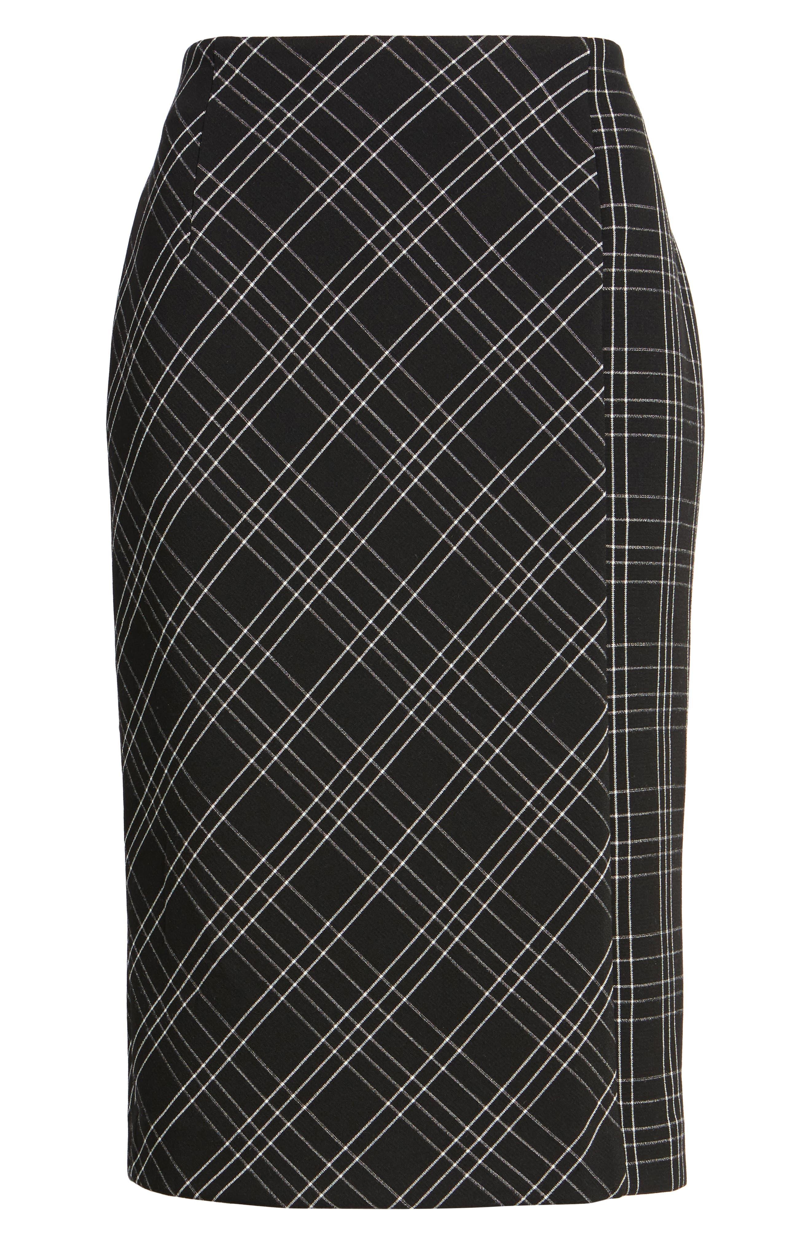 Plaid Pencil Skirt,                             Alternate thumbnail 6, color,                             Black- White Plaid