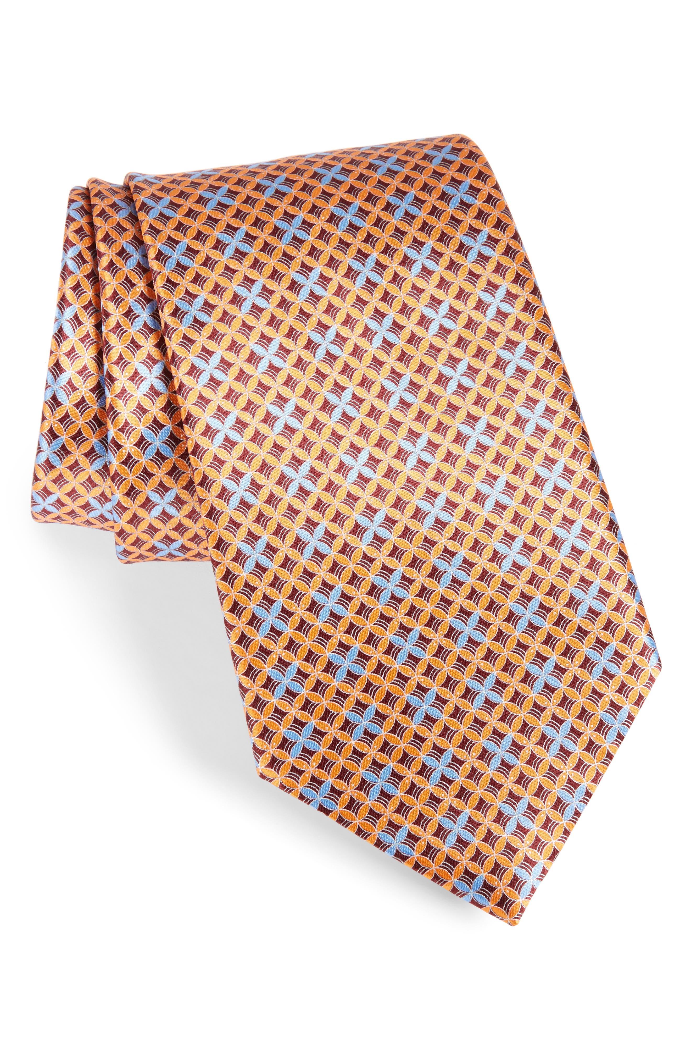 Geometric Silk Tie,                         Main,                         color, Orange