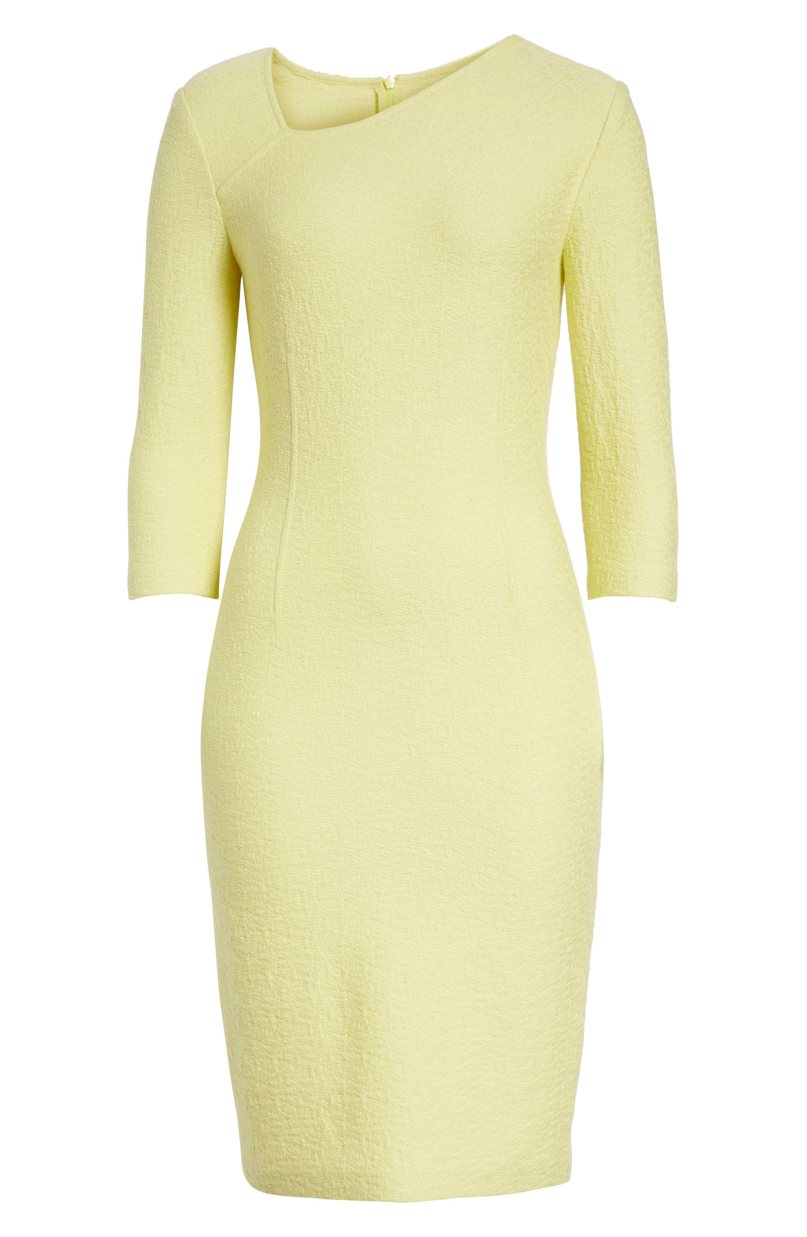 Hannah Knit Asymmetrical Sheath Dress,                             Alternate thumbnail 7, color,                             Citron