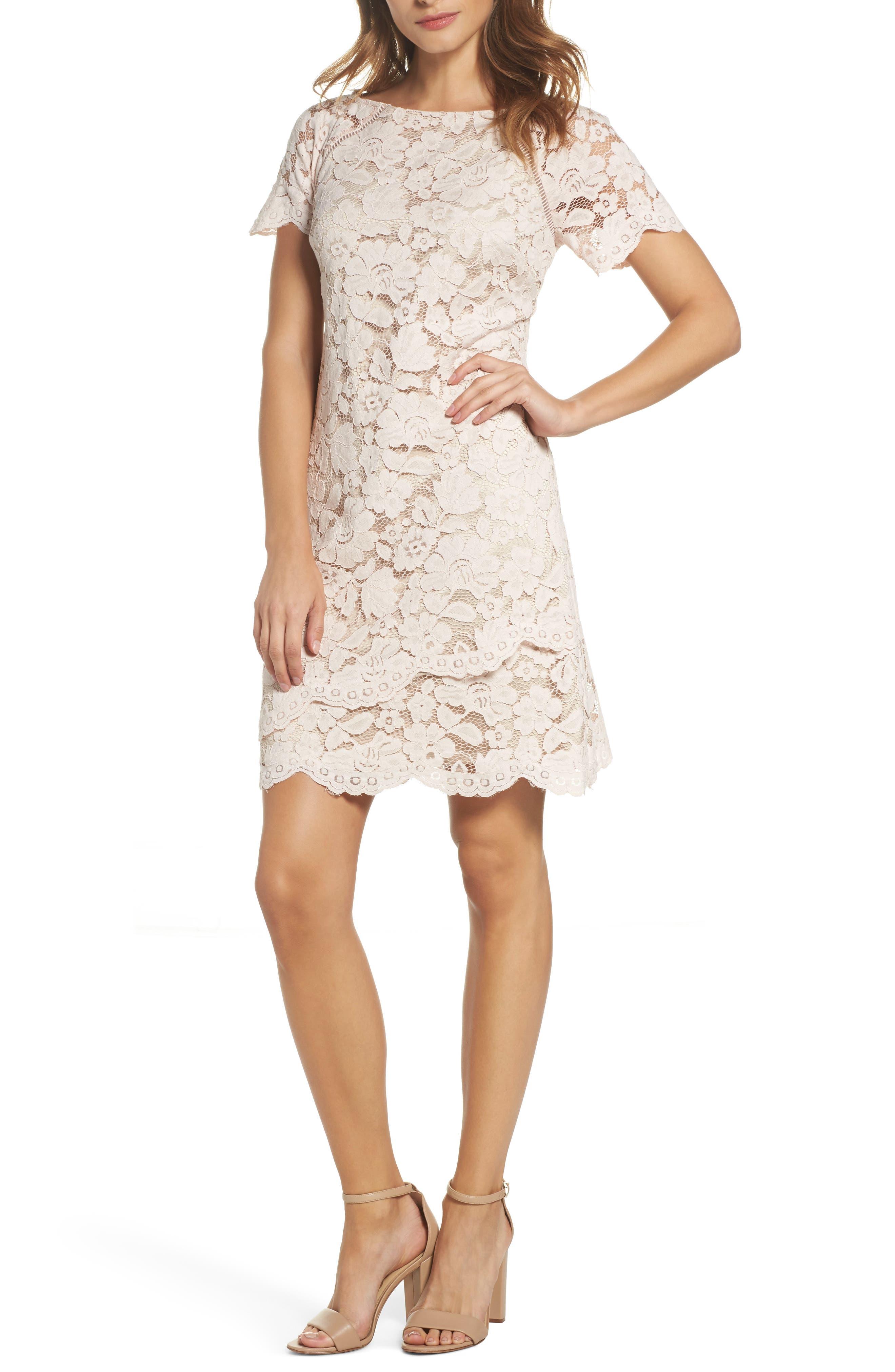 Lace Shift Dress,                         Main,                         color, Blush