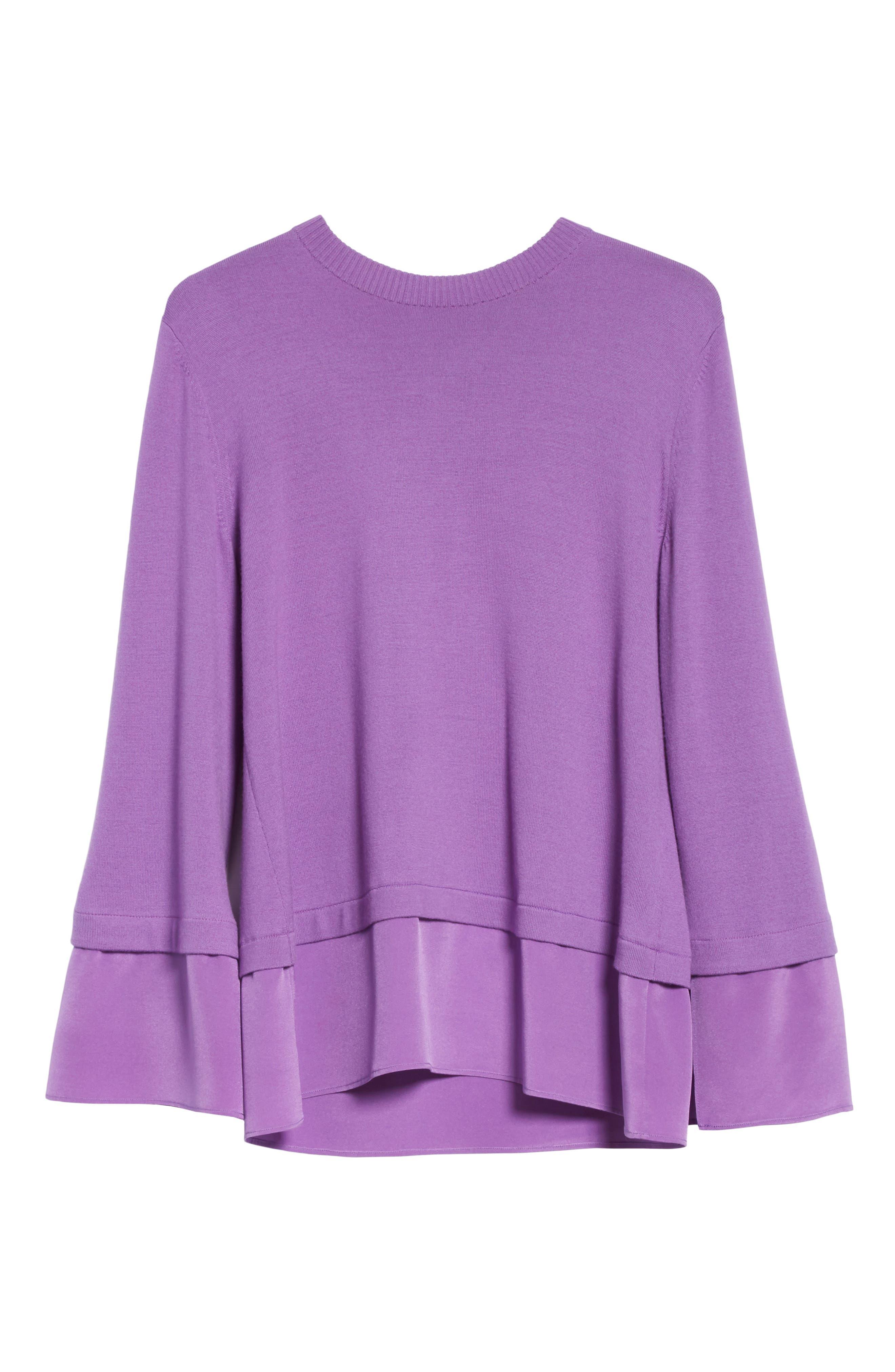 Layered Hem Wool Sweater,                             Alternate thumbnail 6, color,                             Deep Orchid
