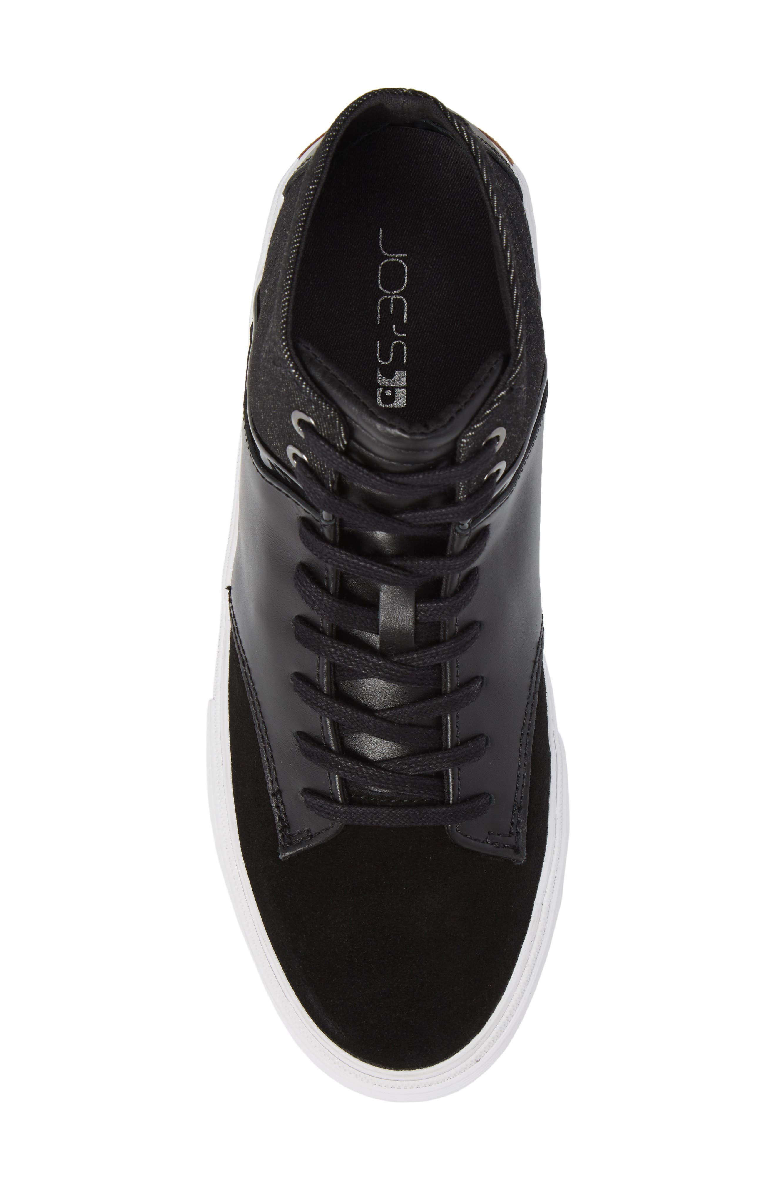 Joe Mac High Top Sneaker,                             Alternate thumbnail 5, color,                             Black Leather