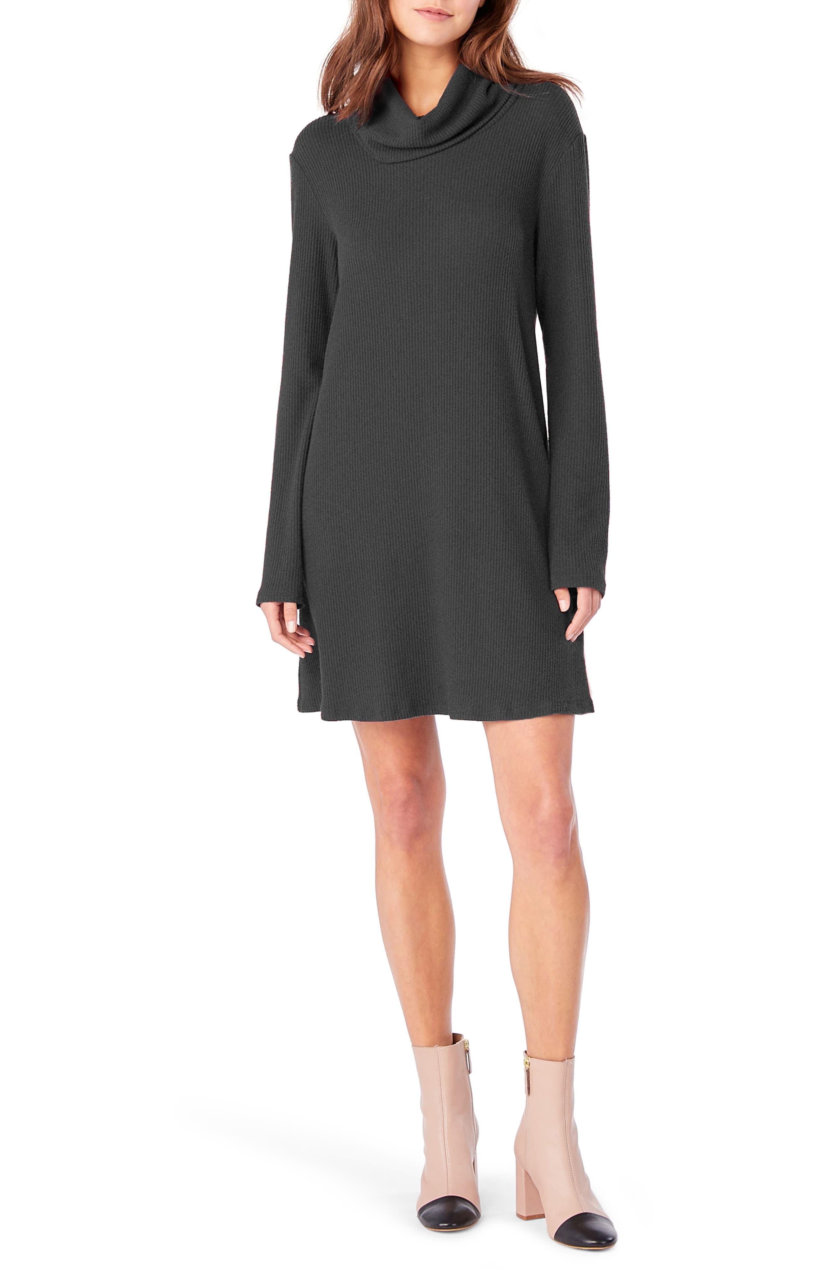 Cowl Neck Knit Dress,                             Main thumbnail 1, color,                             Charcoal