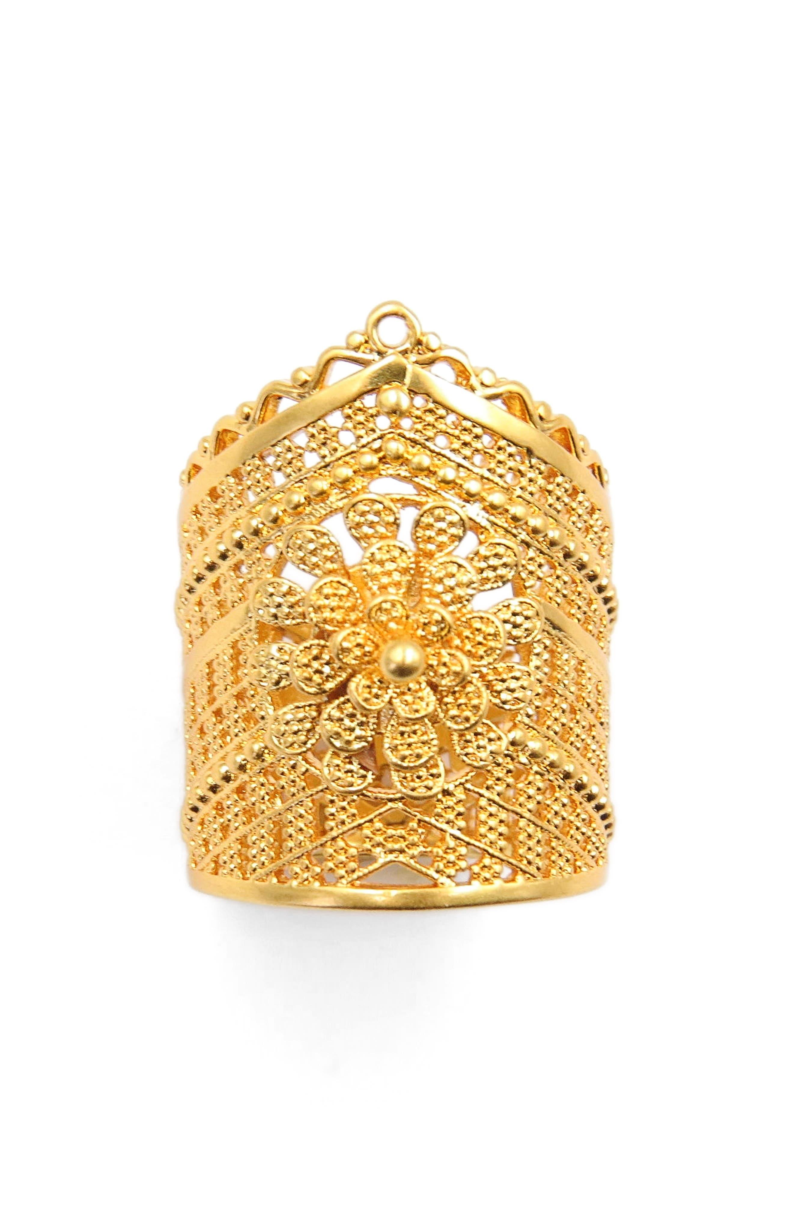 FIligree Crown Ring,                             Main thumbnail 1, color,                             Gold
