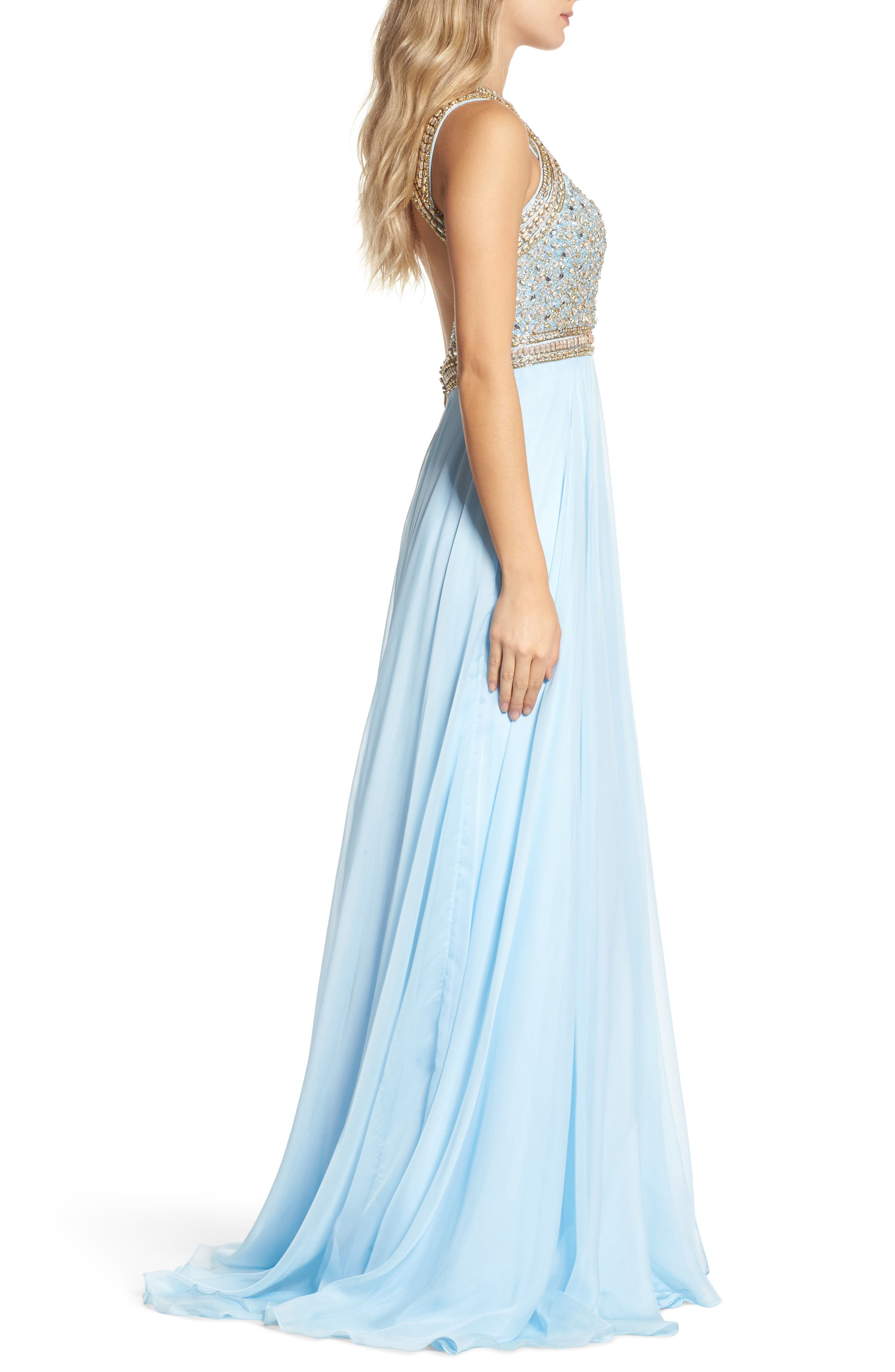 Beaded Cutout Bodice Gown,                             Alternate thumbnail 3, color,                             Ice Blue