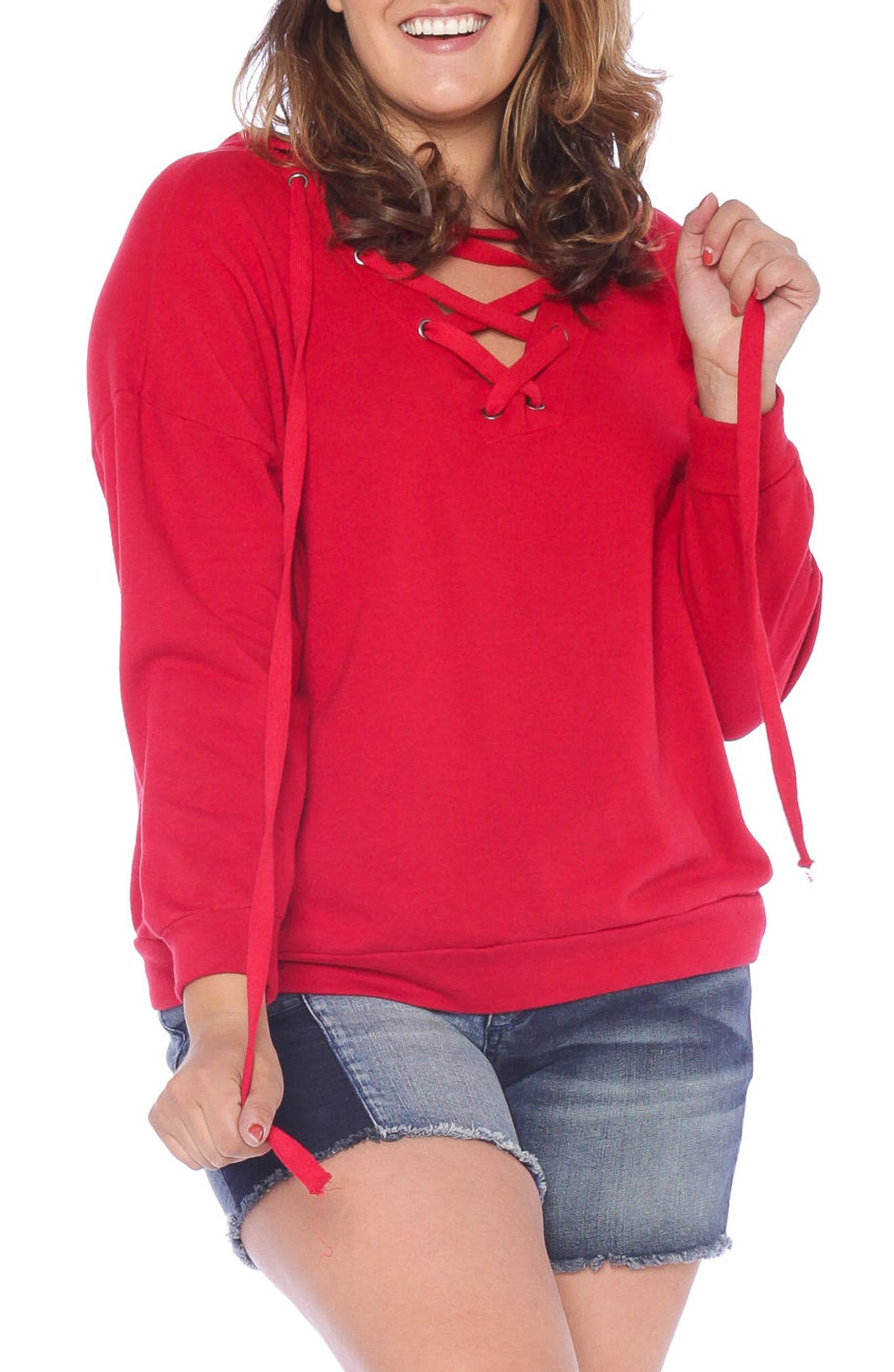 SLINK Jeans Lace-Up Hoodie (Plus Size)