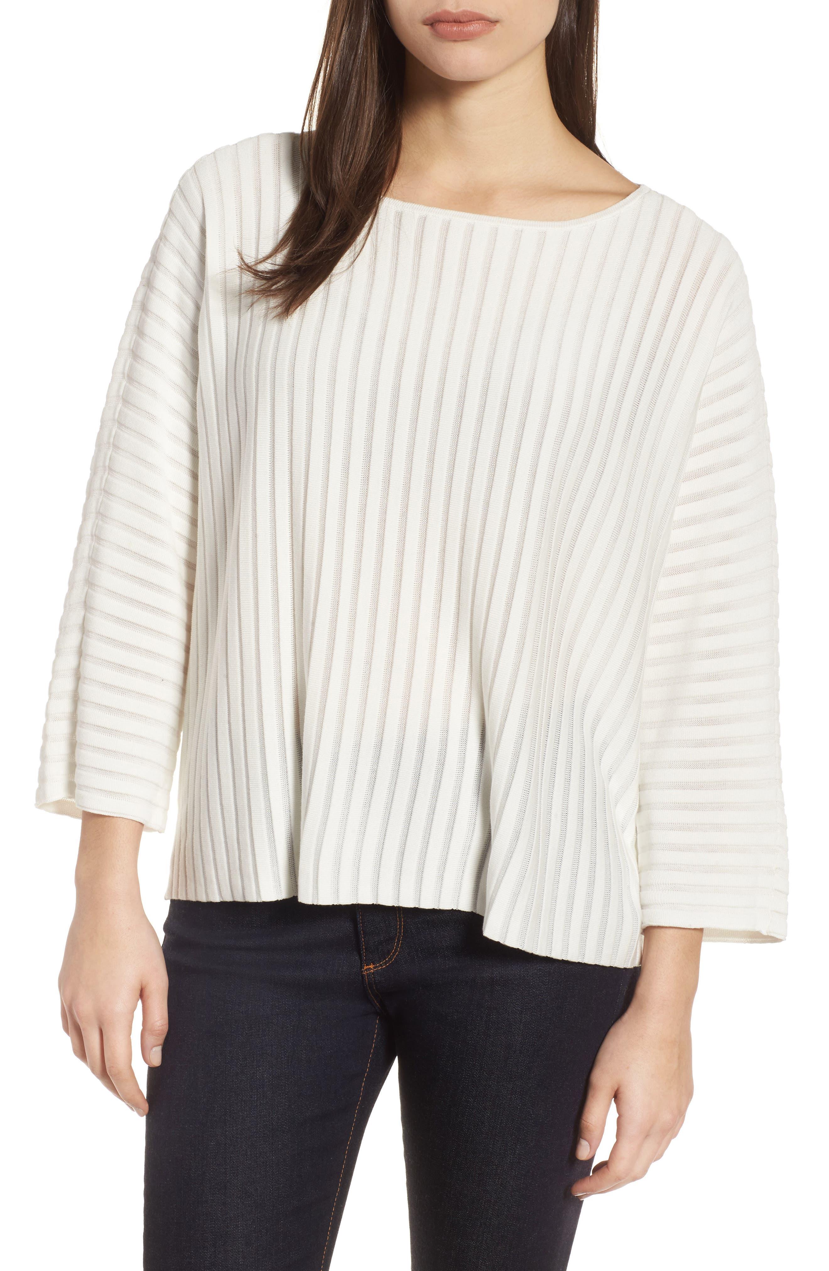 Ribbed Bateau Neck Sweater,                             Main thumbnail 1, color,                             Soft White